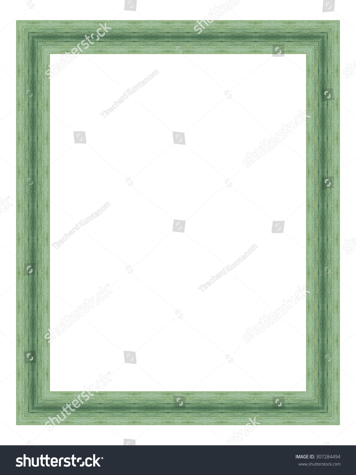 Green Wooden Frame Isolated On White Stock Photo (Download Now ...