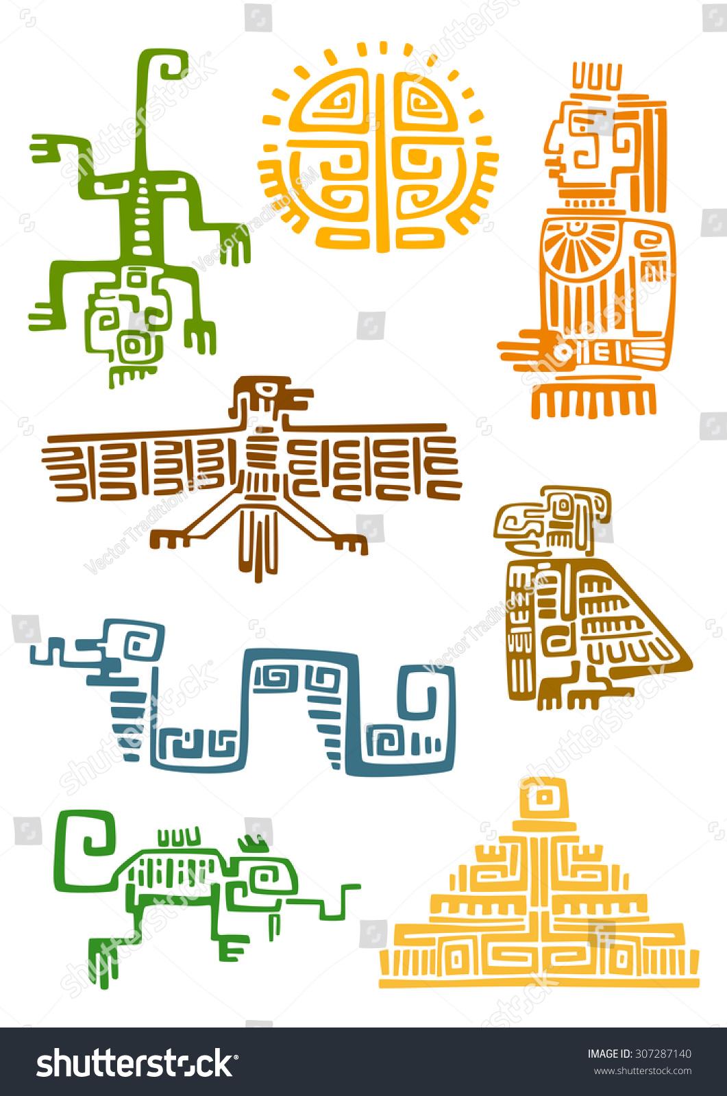 Ancient Aztec Maya Ornamental Symbols Sun Stock Vector Royalty Free