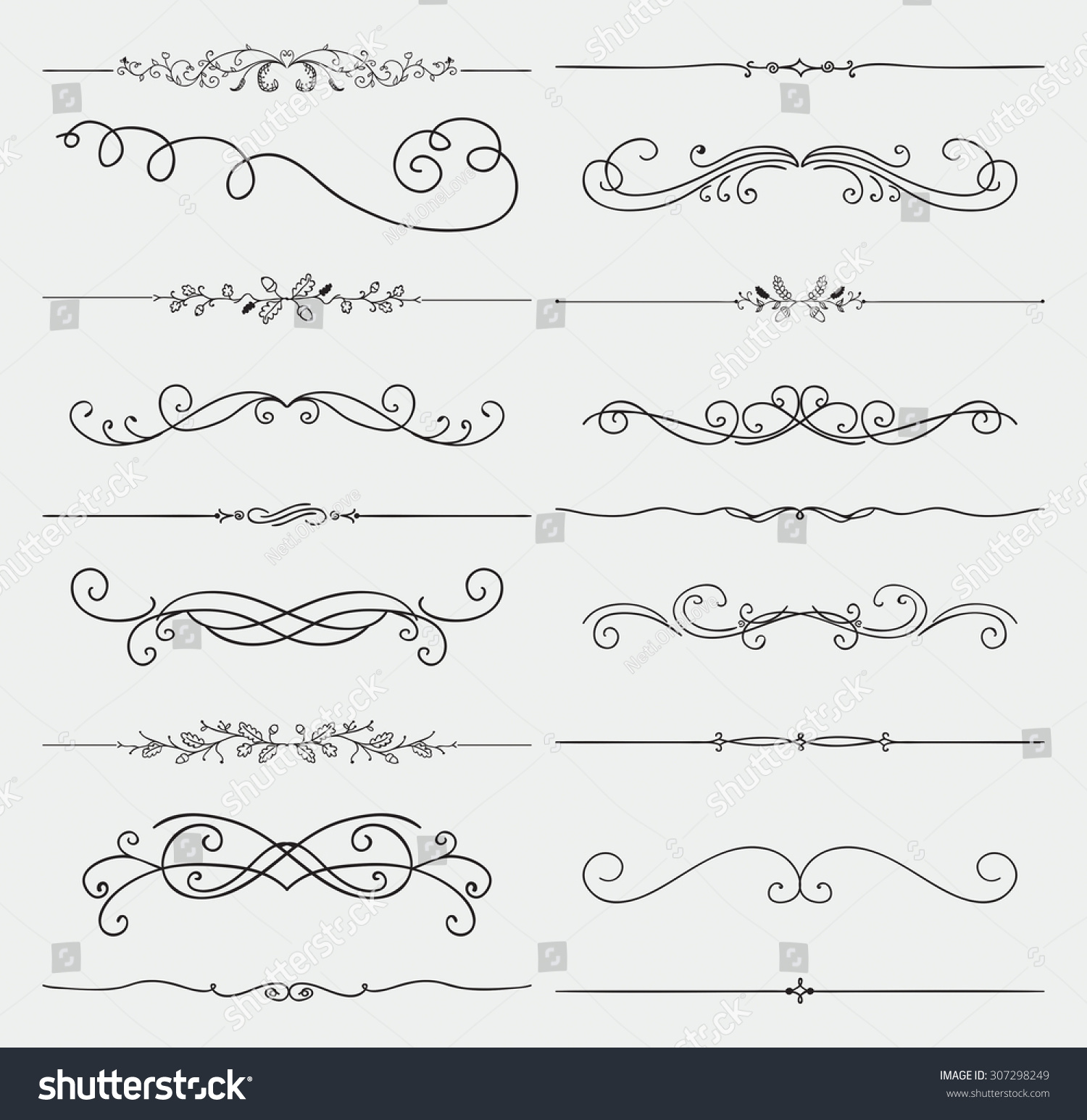 Rustic Scroll: Set Of Black Hand Drawn Rustic Doodle Design Elements