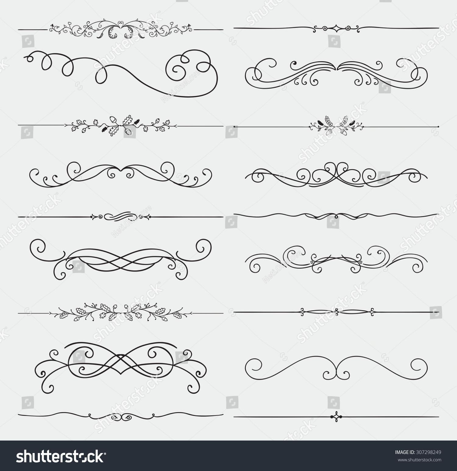 Rustic Scroll Design: Set Of Black Hand Drawn Rustic Doodle Design Elements