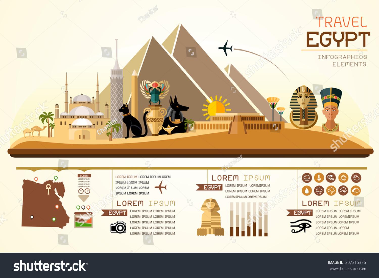 Info graphics travel landmark egypt template stock vector for Landmark design