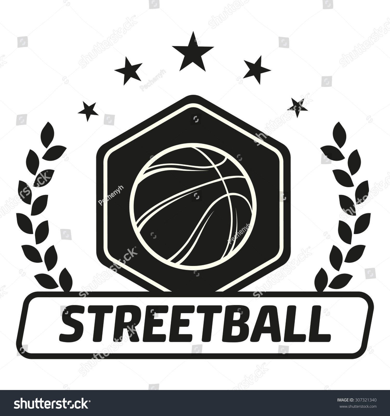 Streetball And Basketball Icon Logo Set With Ball And ...