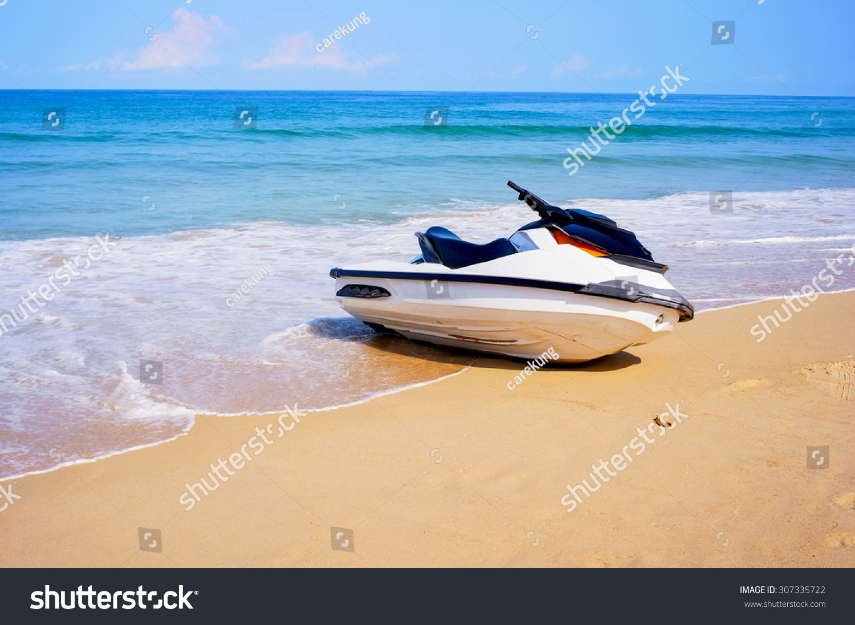 Jetski Water Scooter Parking On Beach Stock Photo