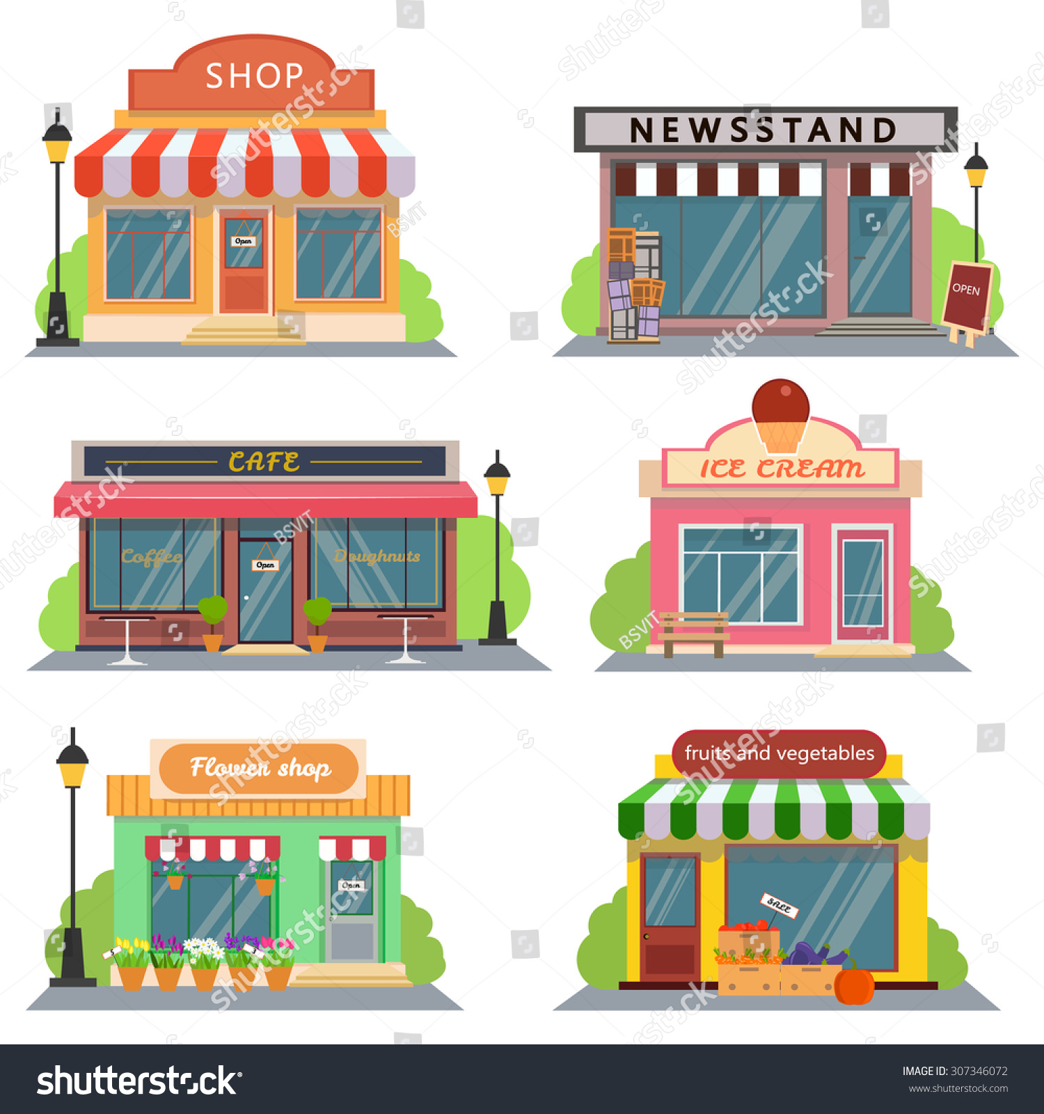 Shops stores icons set flat design stock vector 307346072 for Design shop de