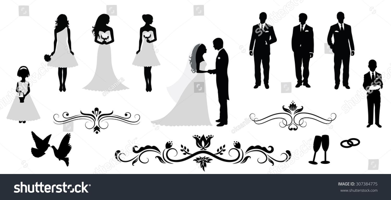 Set Vector Wedding Silhouettes Stock Vector 307384775 ...