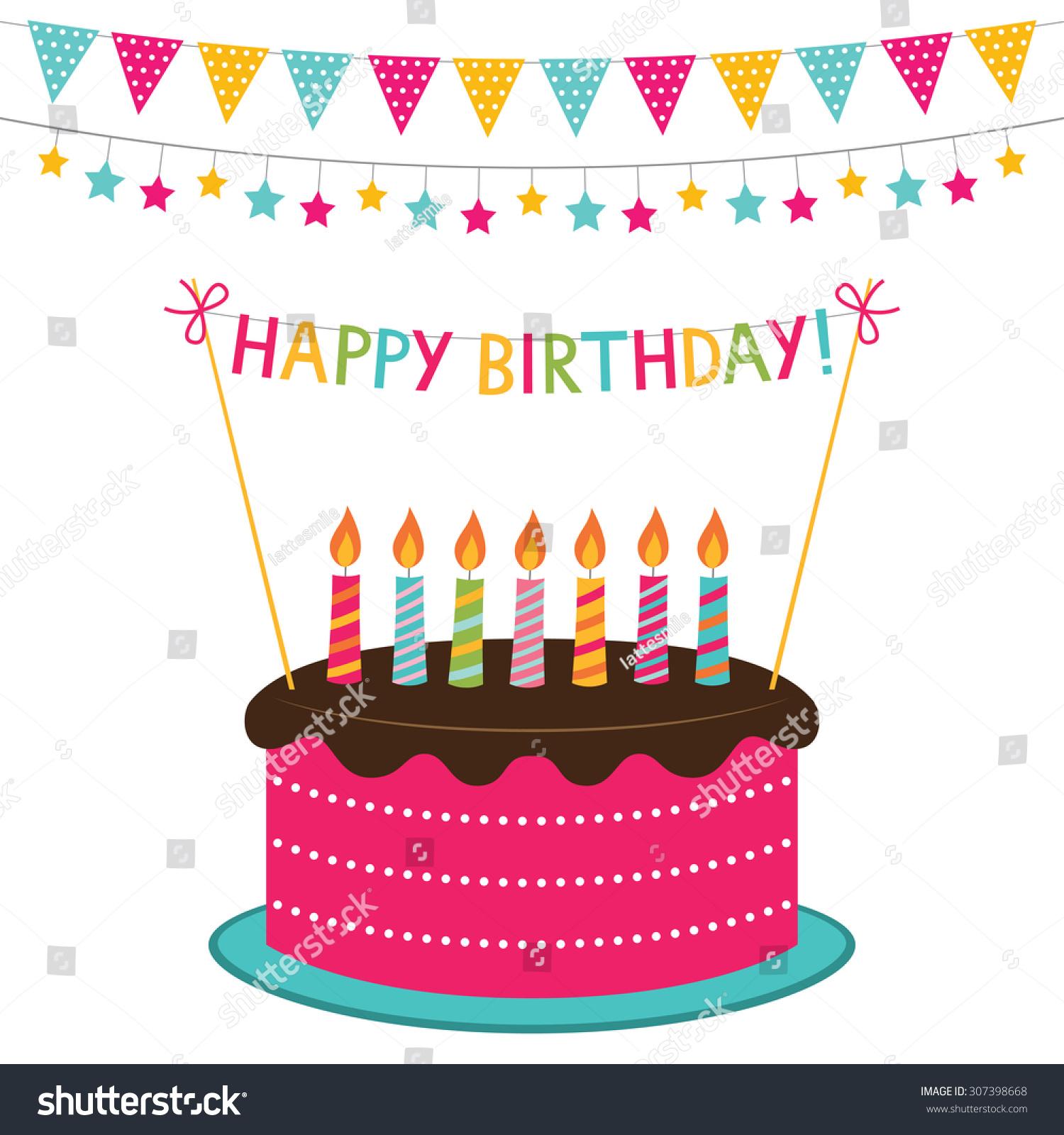 Vector Birthday Card Cake Decoration Stock Vector 307398668