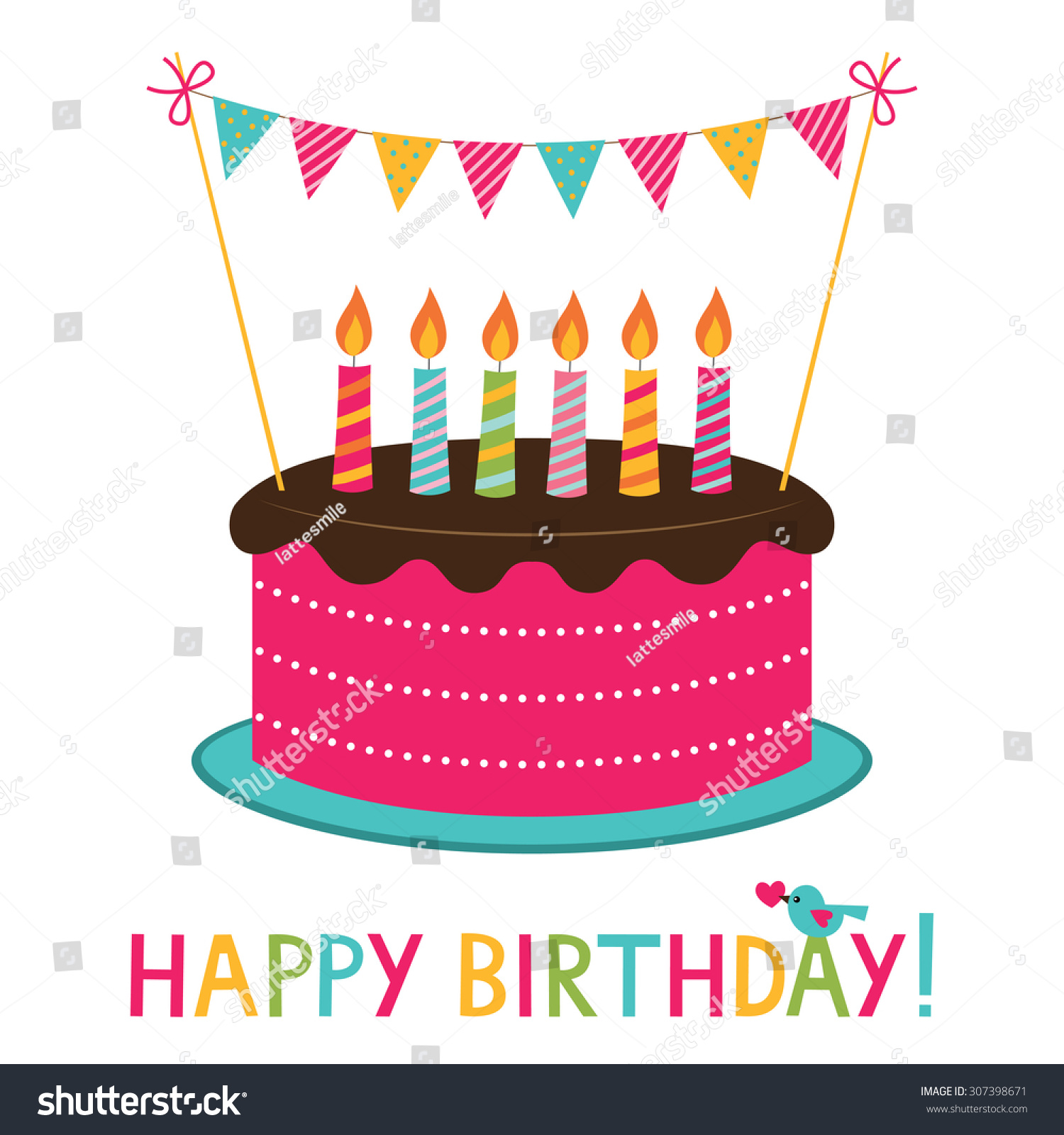 Vector Birthday Cake Candles Stock Vector Royalty Free 307398671