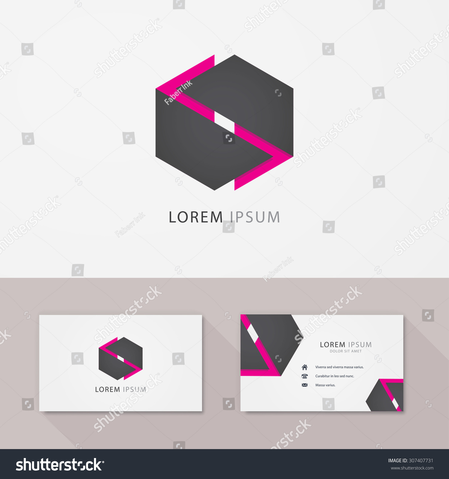 hexagon vector logo business card vector stock vector