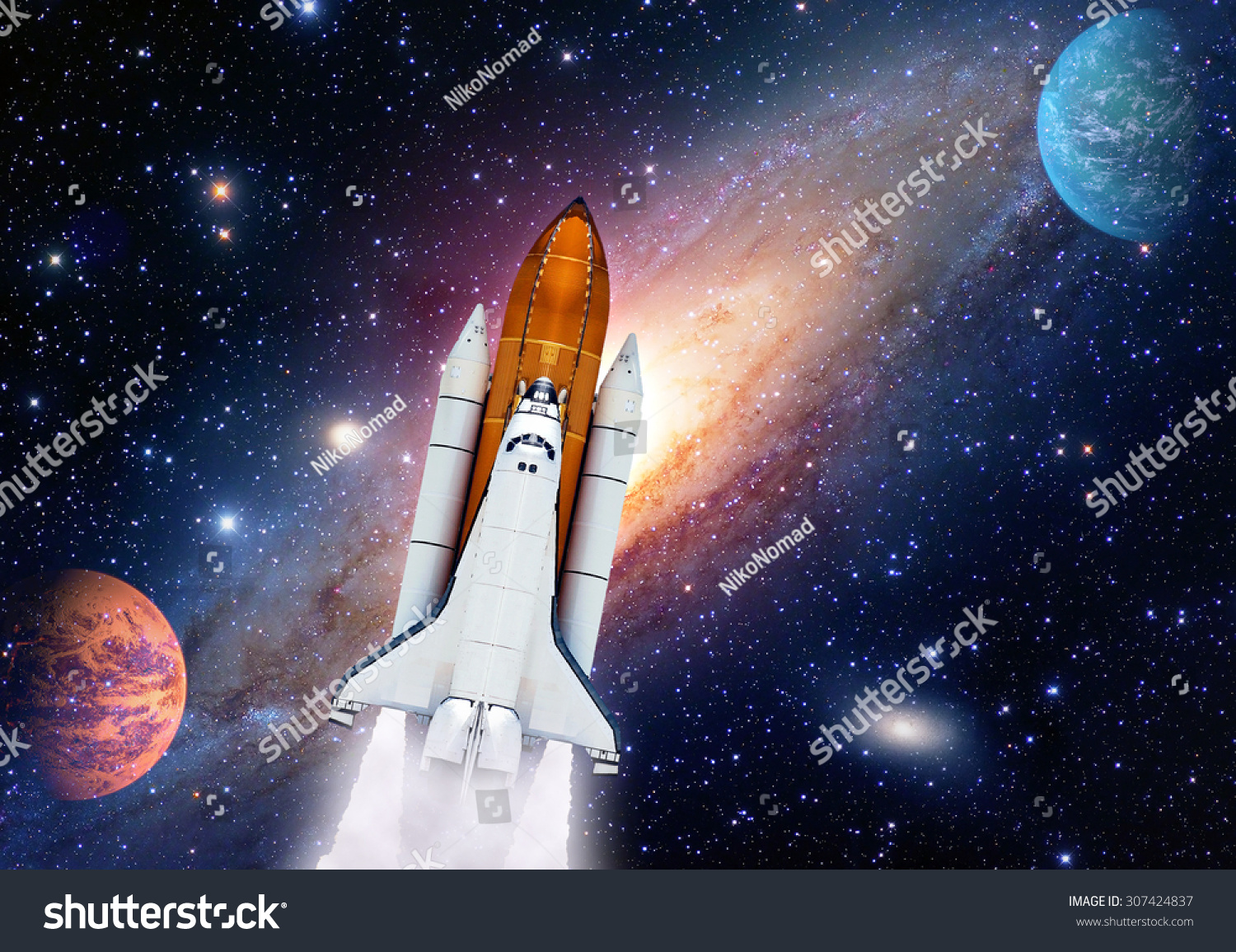 Outer space shuttle rocket launch spaceship stock photo for Outer space elements