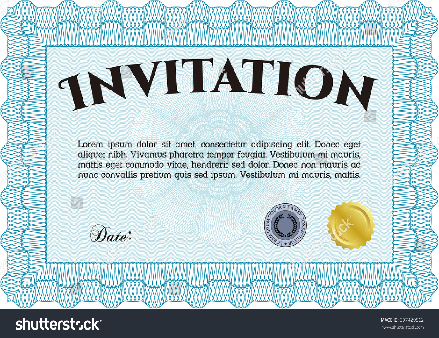 formal invitation template border frame elegant design stock vector