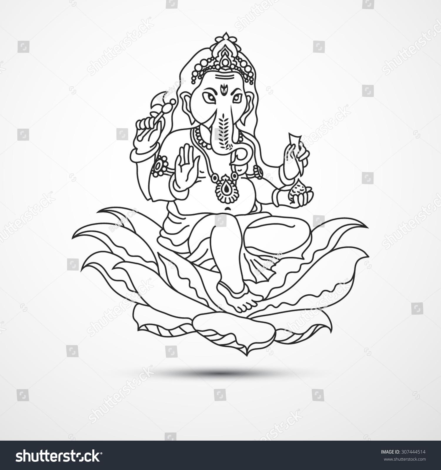 Lord Ganesha Ganesh Chaturthi Indian Hindu Vector de stock307444514 ...