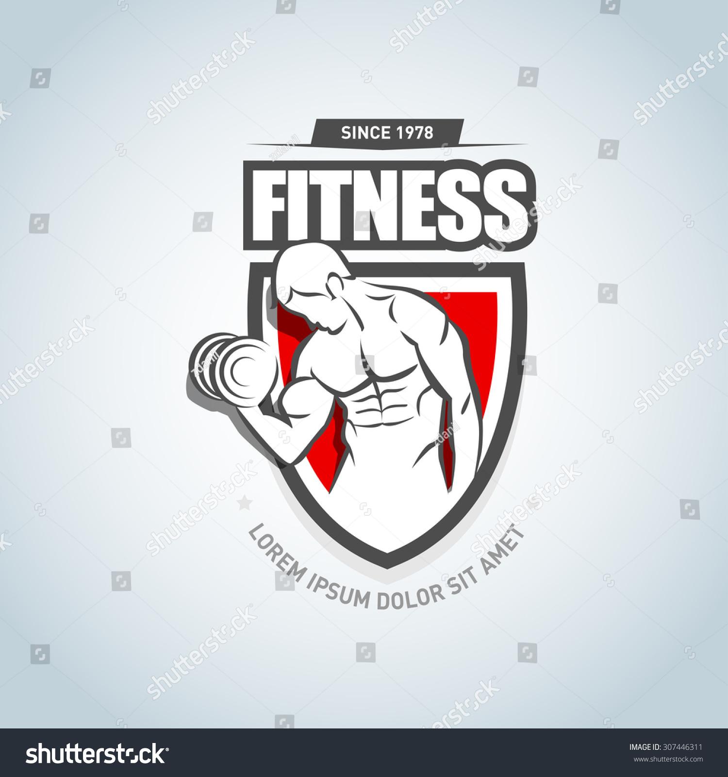 ... logo design template. Sport Fitness club creative concept. Bodybuilder