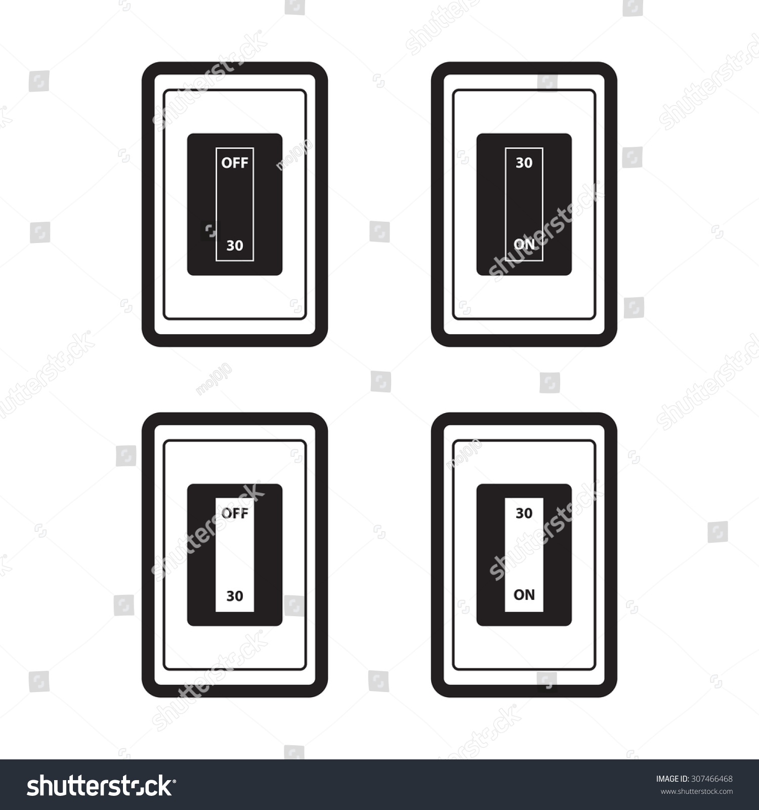 Home Circuit Breakers Icon Onoff Flat Stock Vector Royalty Free With On Off In Style