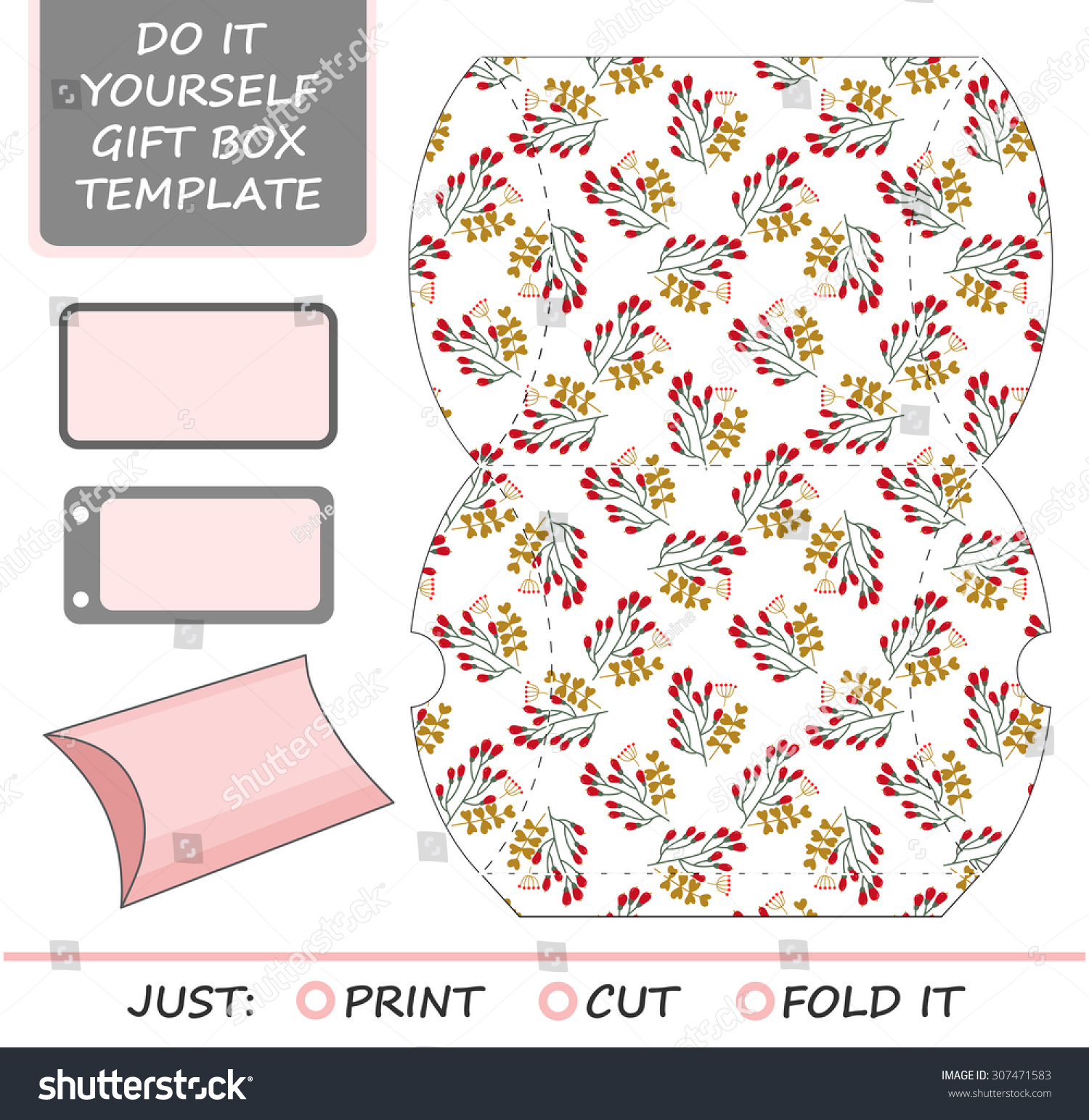 favor gift box die cut box stock vector shutterstock favor gift box die cut box template winter floral pattern great for