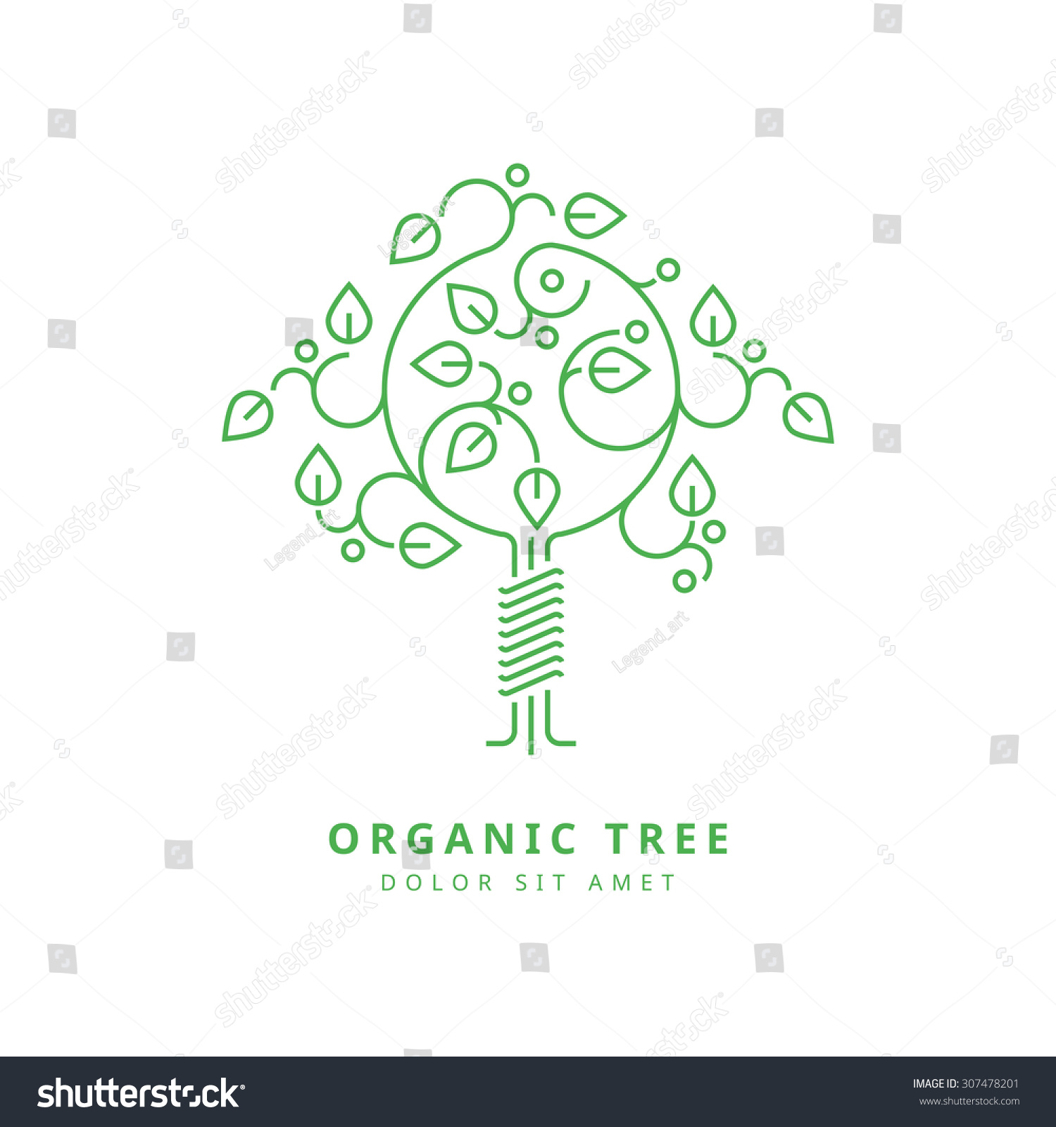 outline vector design template organic tree stock vector 307478201
