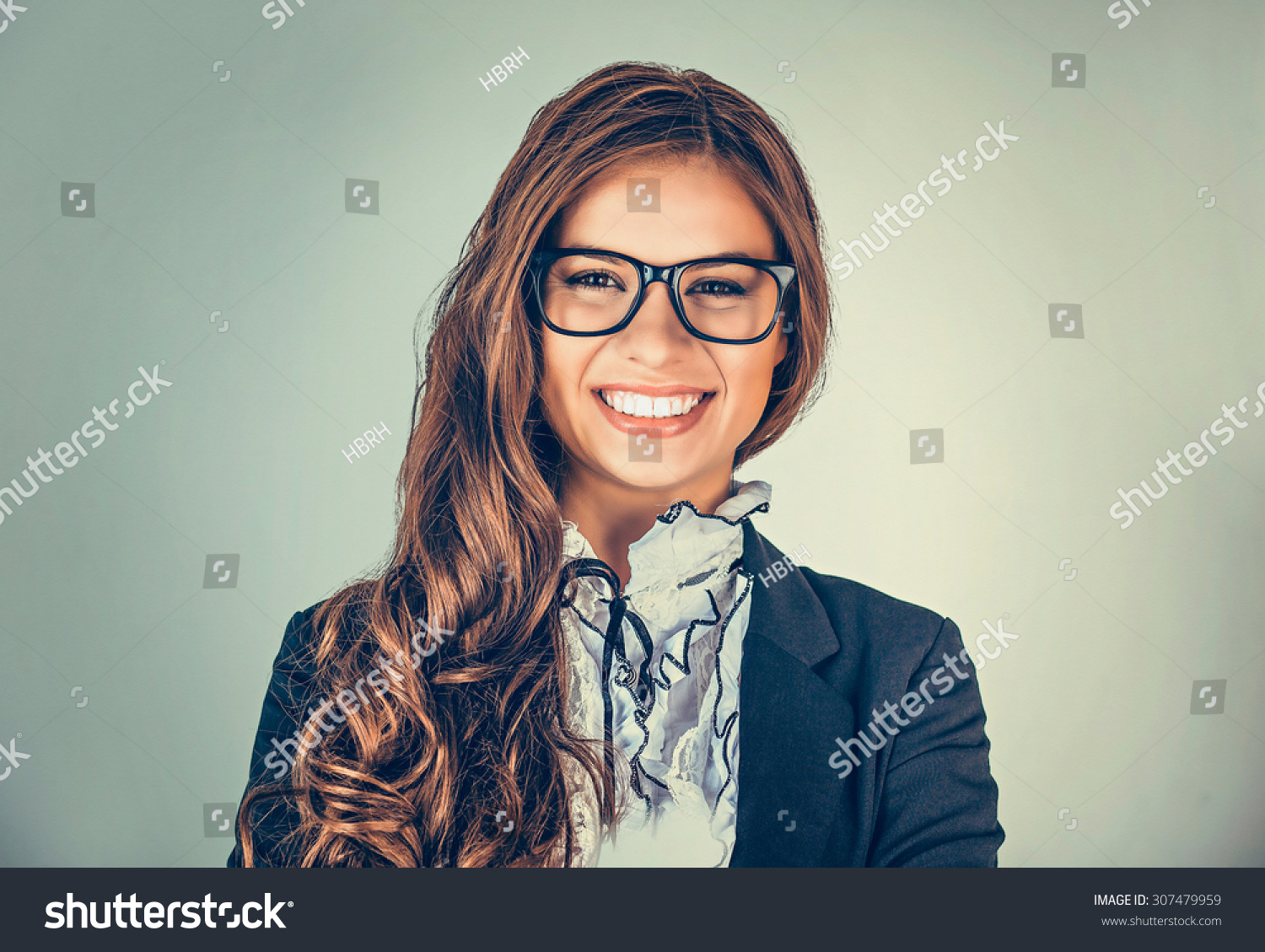 be4a84eb77c4 Closeup portrait head shot sexy beautiful happy young woman with glasses  smiling isolated on