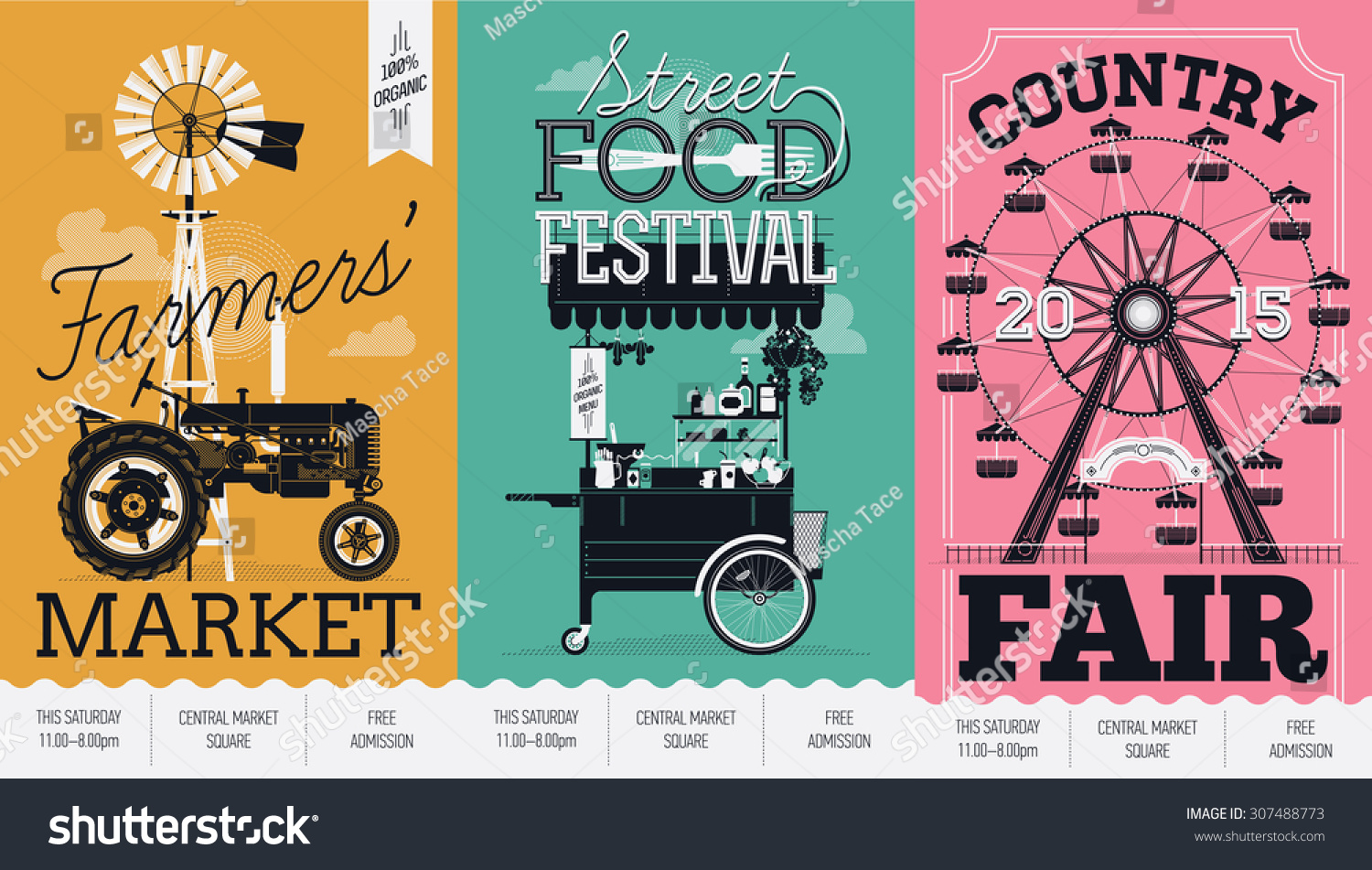 Beautiful Vector Detailed Event Posters Set Stock Vector 307488773 ... for Creative Event Posters  55nar