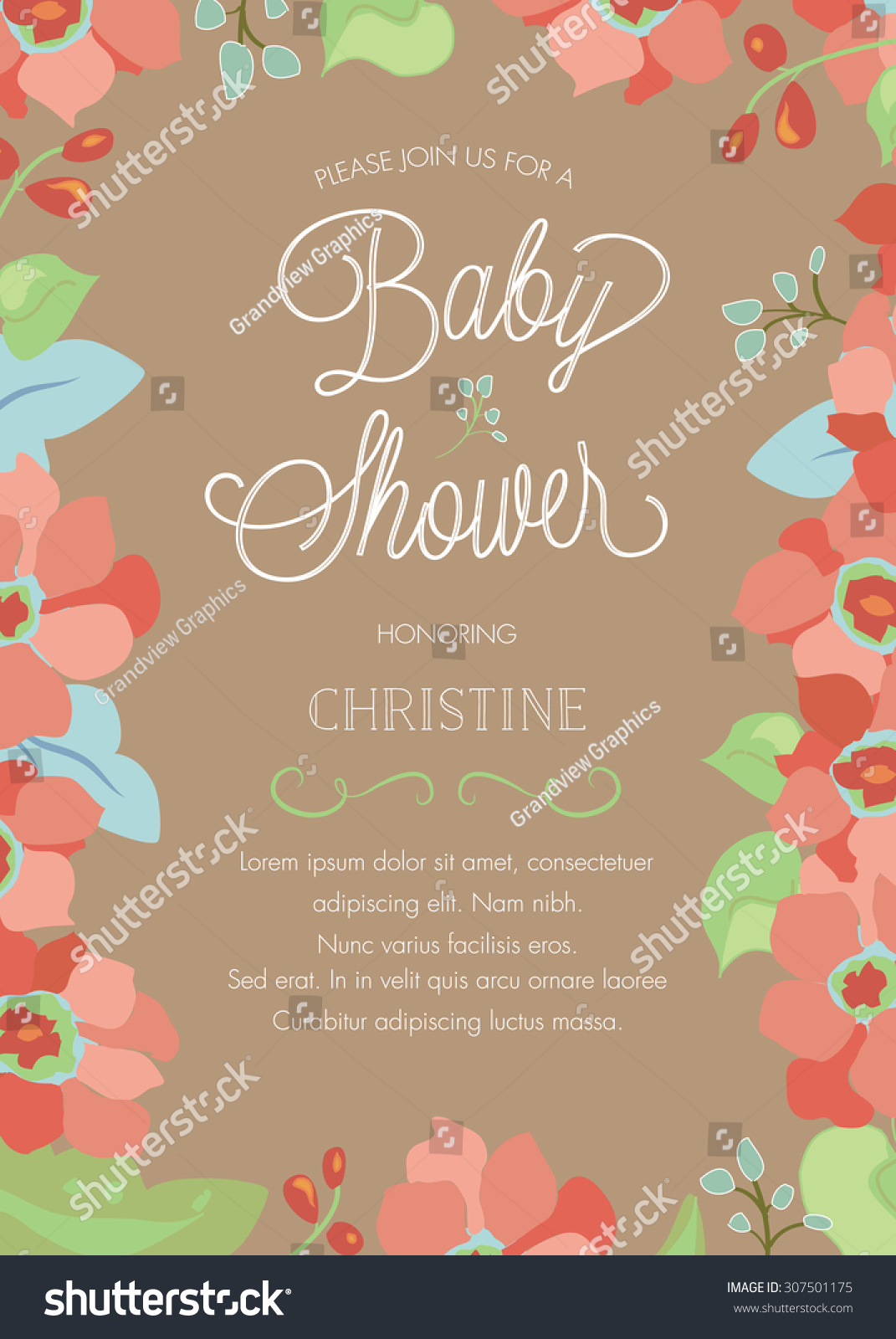 Customizable floral baby shower invitation template stock vector customizable floral baby shower invitation template vector stopboris Choice Image
