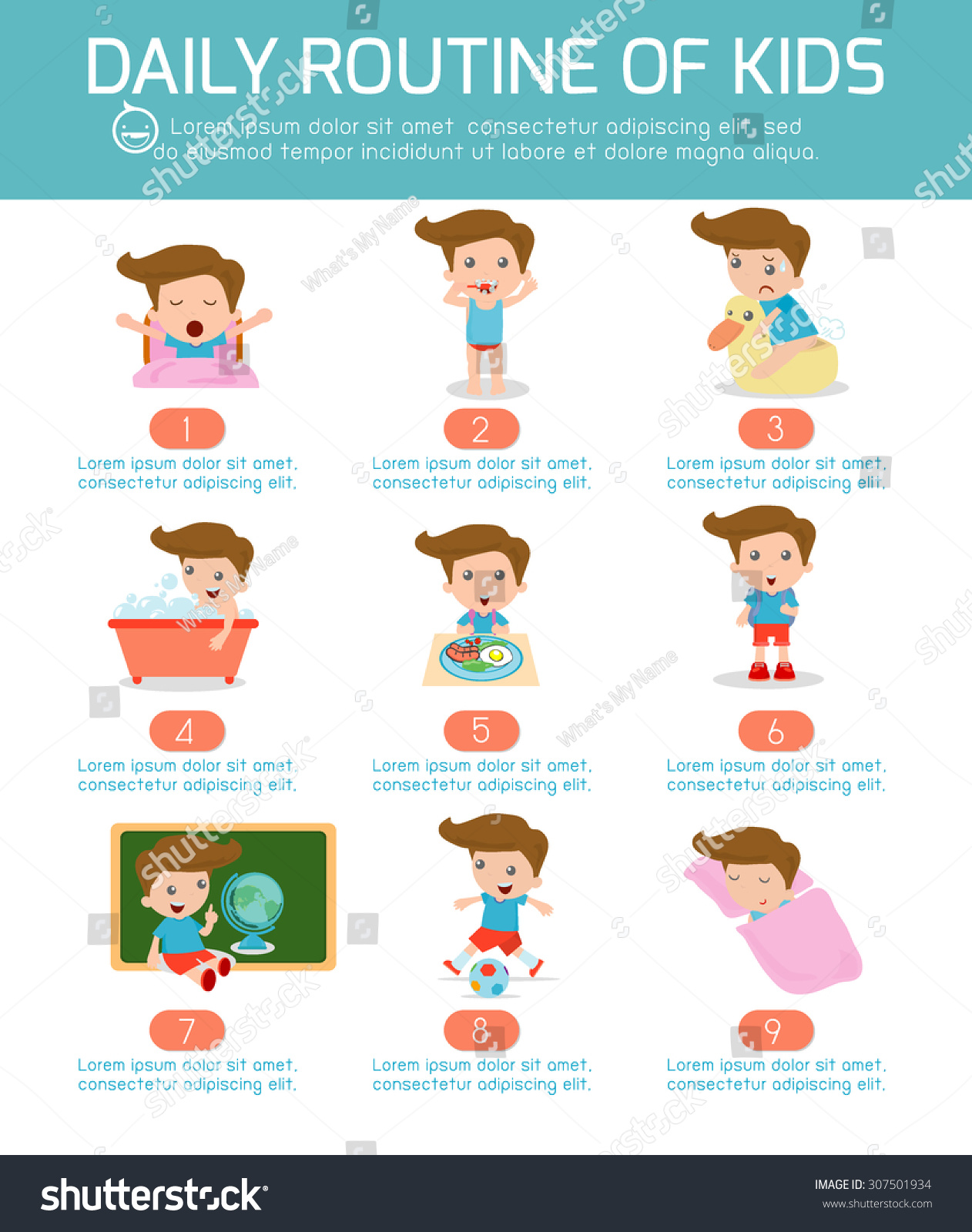 Daily Routine Happy Kids Infographic Element Stock Vector