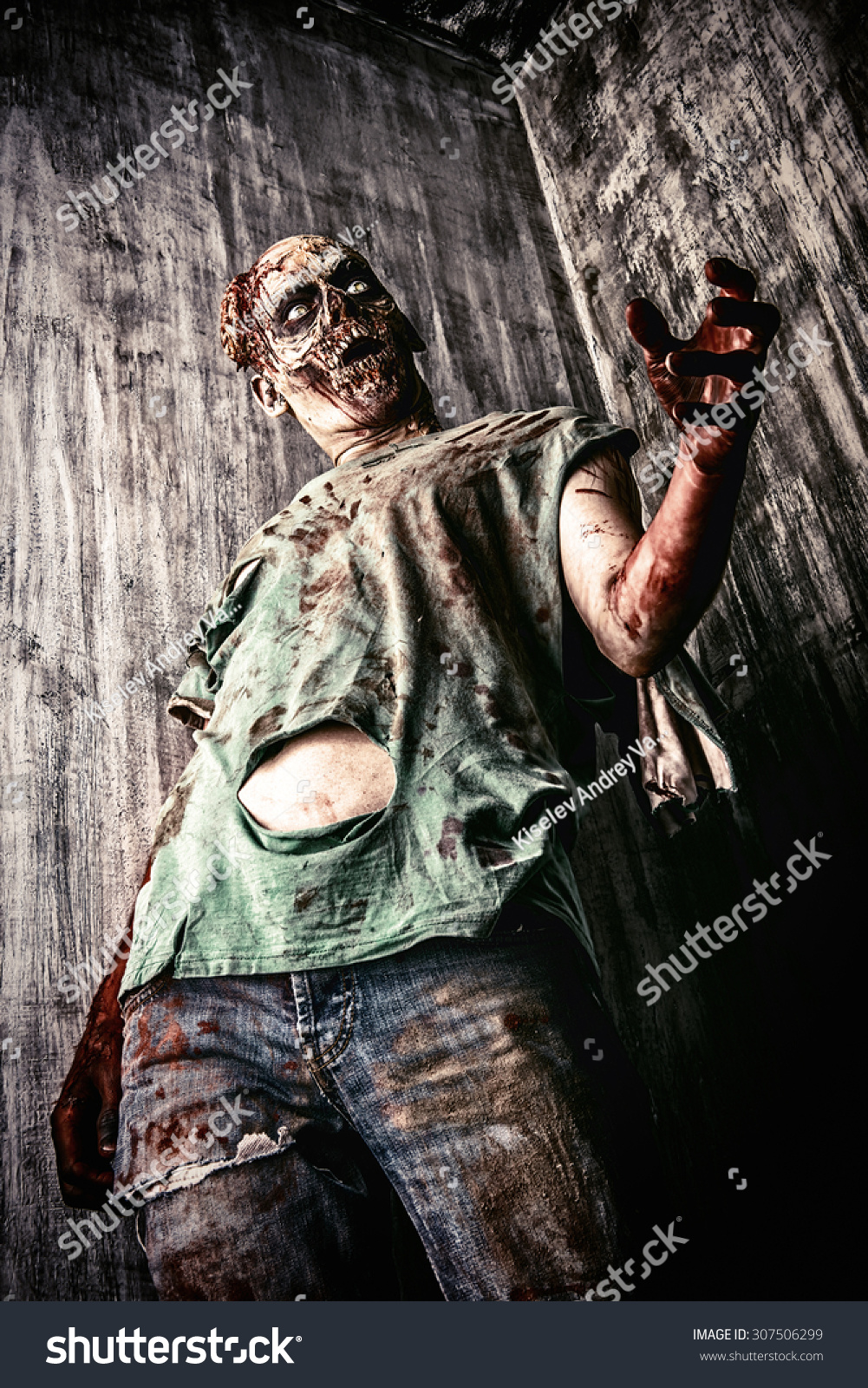 Scary Bloody Zombie Man Old House Stock Photo 307506299 ...