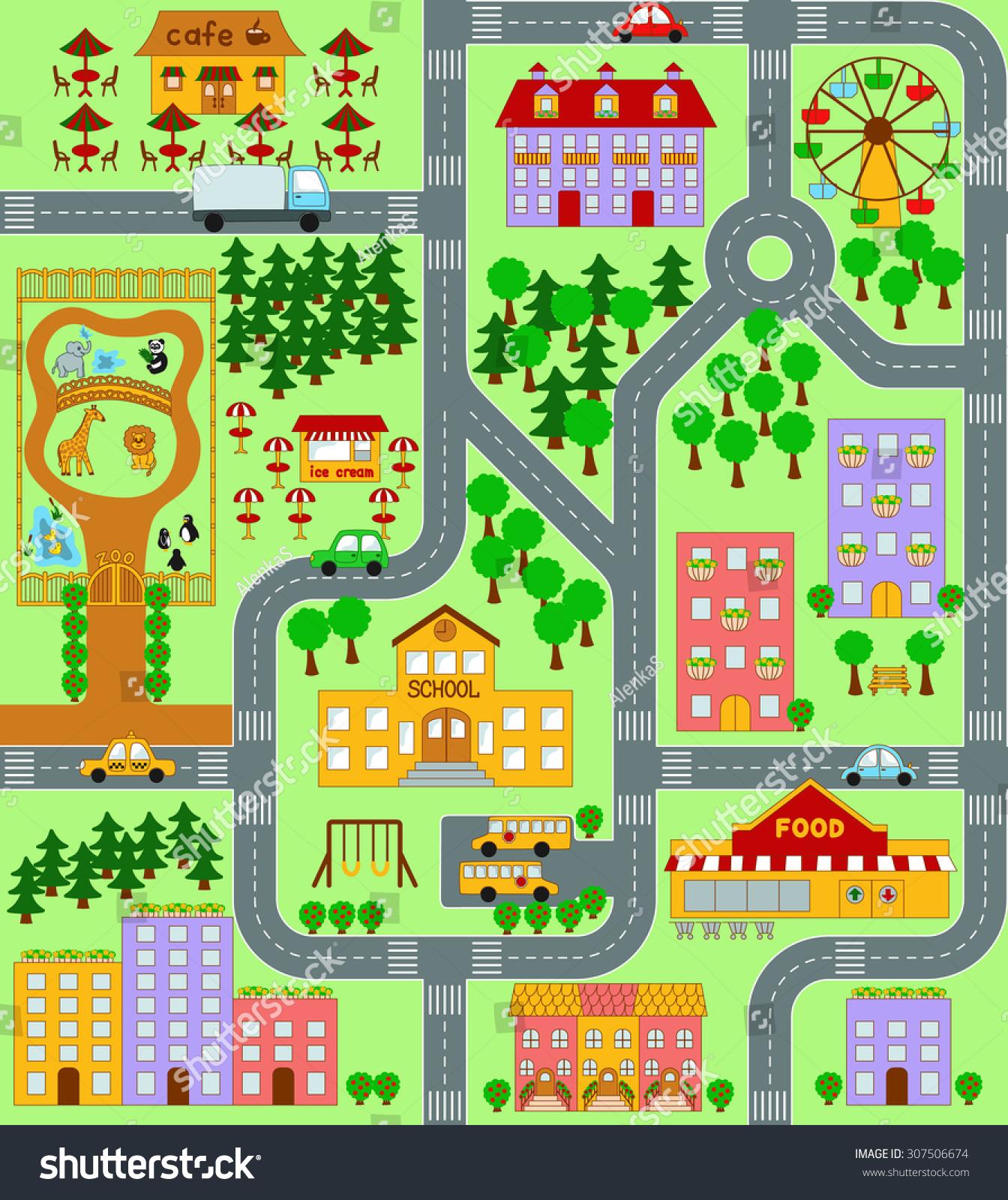 City Map Kids Seamless Pattern Ilustraci 243 N En Stock