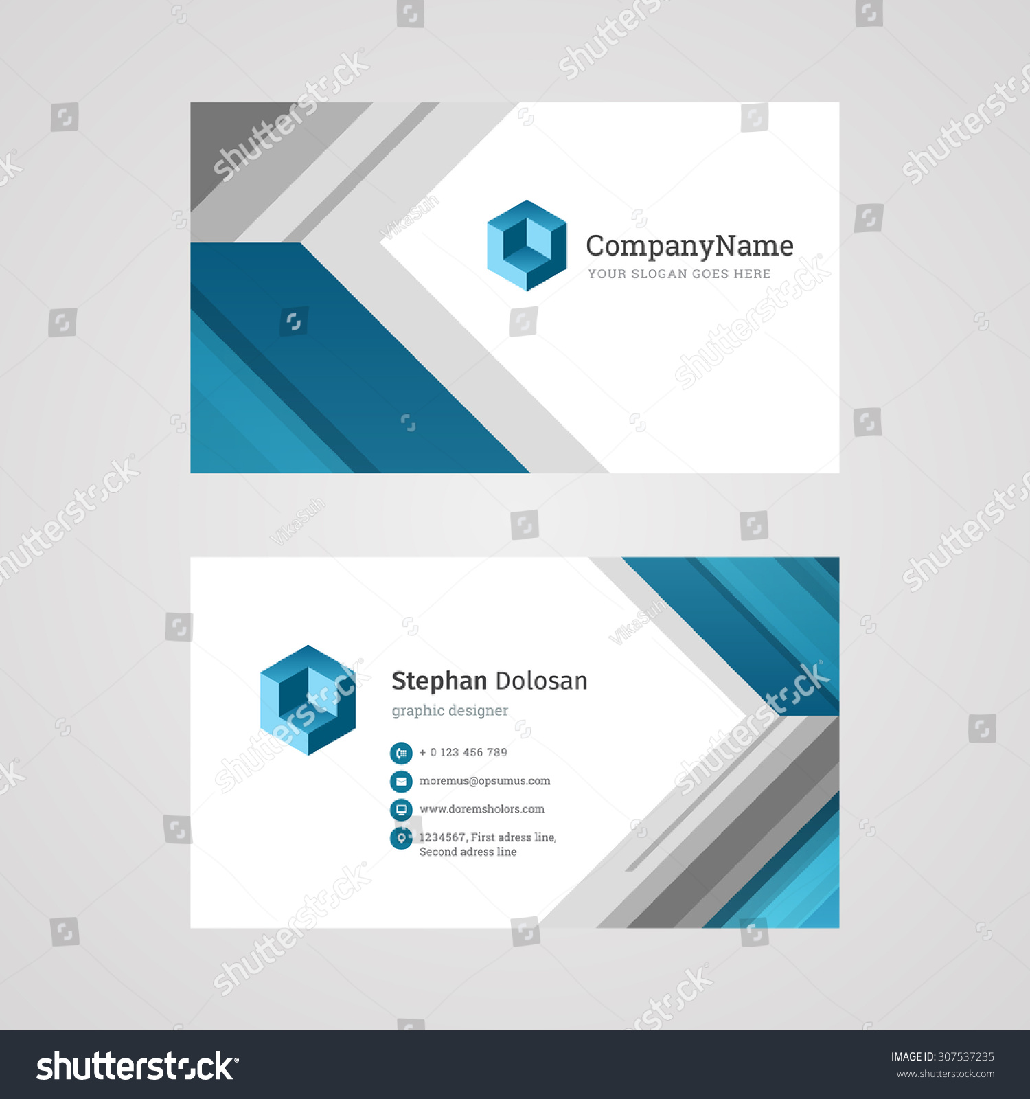 Vector Creative Business Card Template Abstract Stock Vector ...