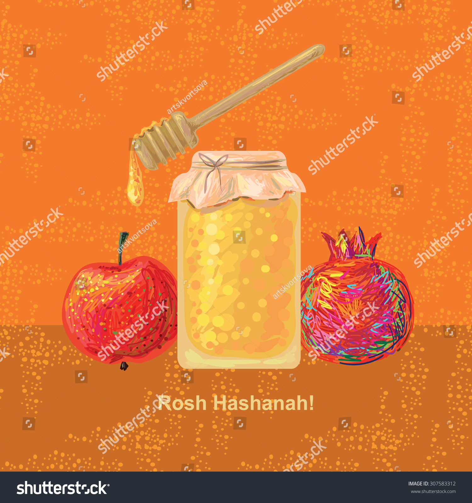 Greeting card design rosh hashanah jewish stock vector 307583312 greeting card design for rosh hashanah jewish new year holiday concept with traditional holiday symbols m4hsunfo