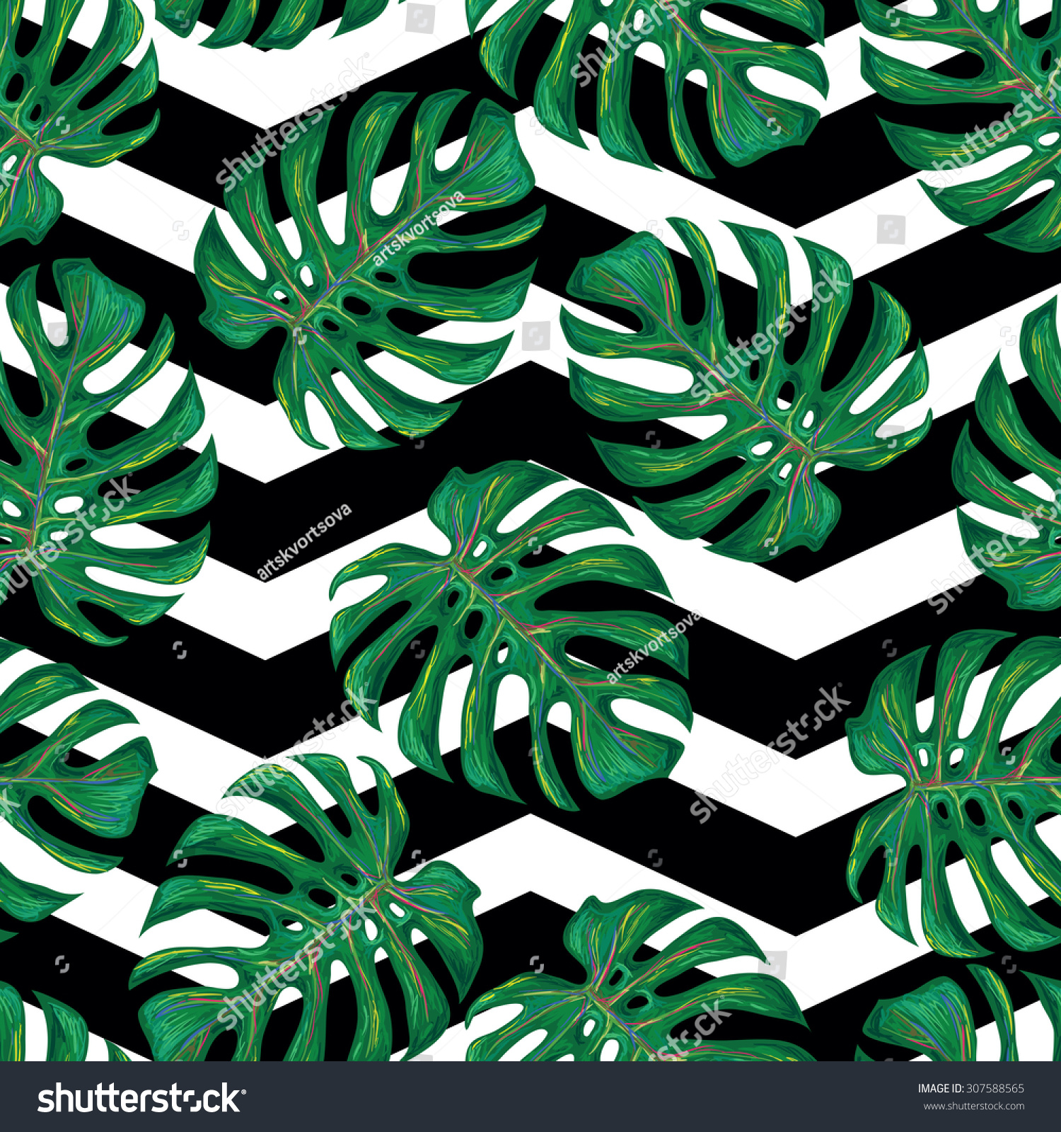 Seamless Tropical Pattern Monstera Leaves Vector Stock Vector 307588565 Shutterstock