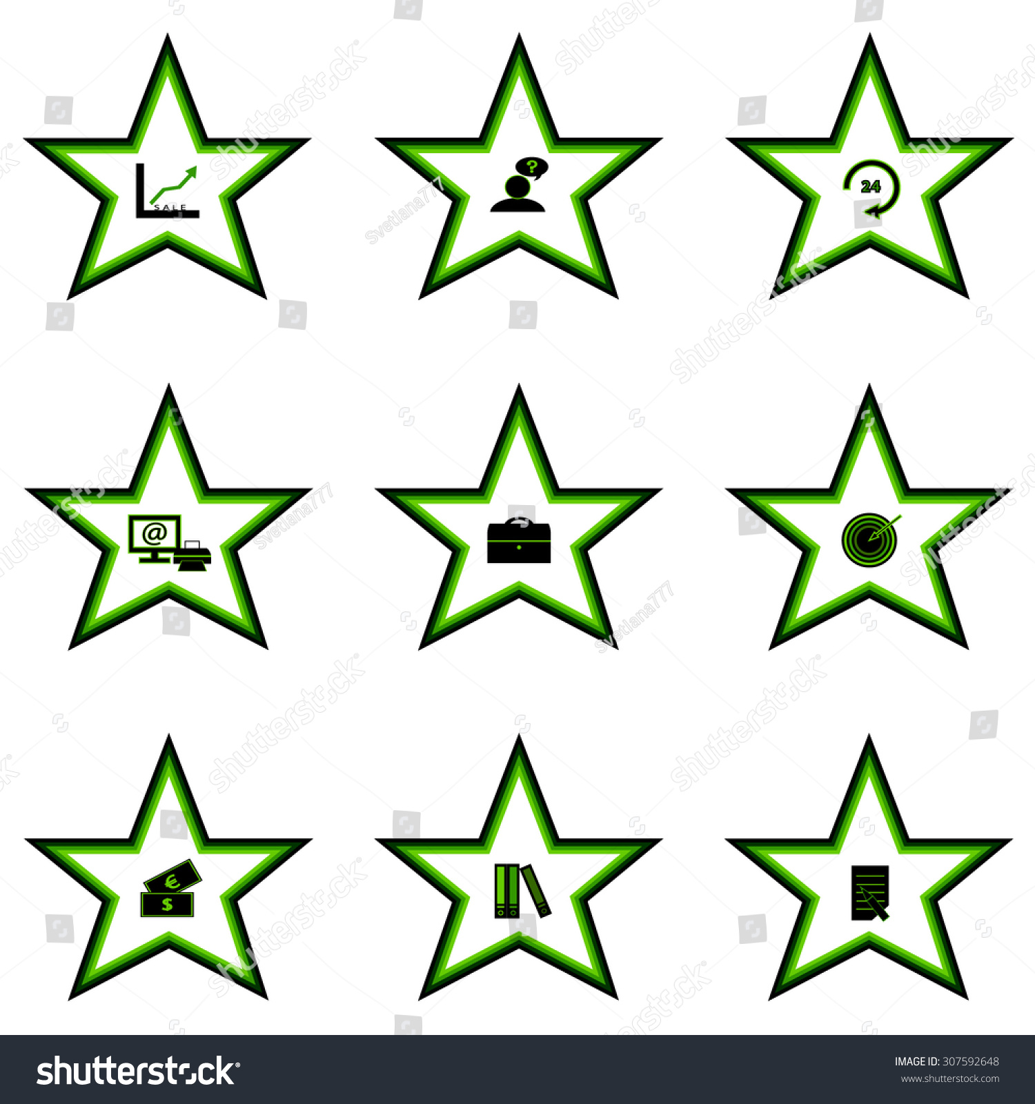 Set Icons Stars Symbols Business Stock Vector Hd Royalty Free