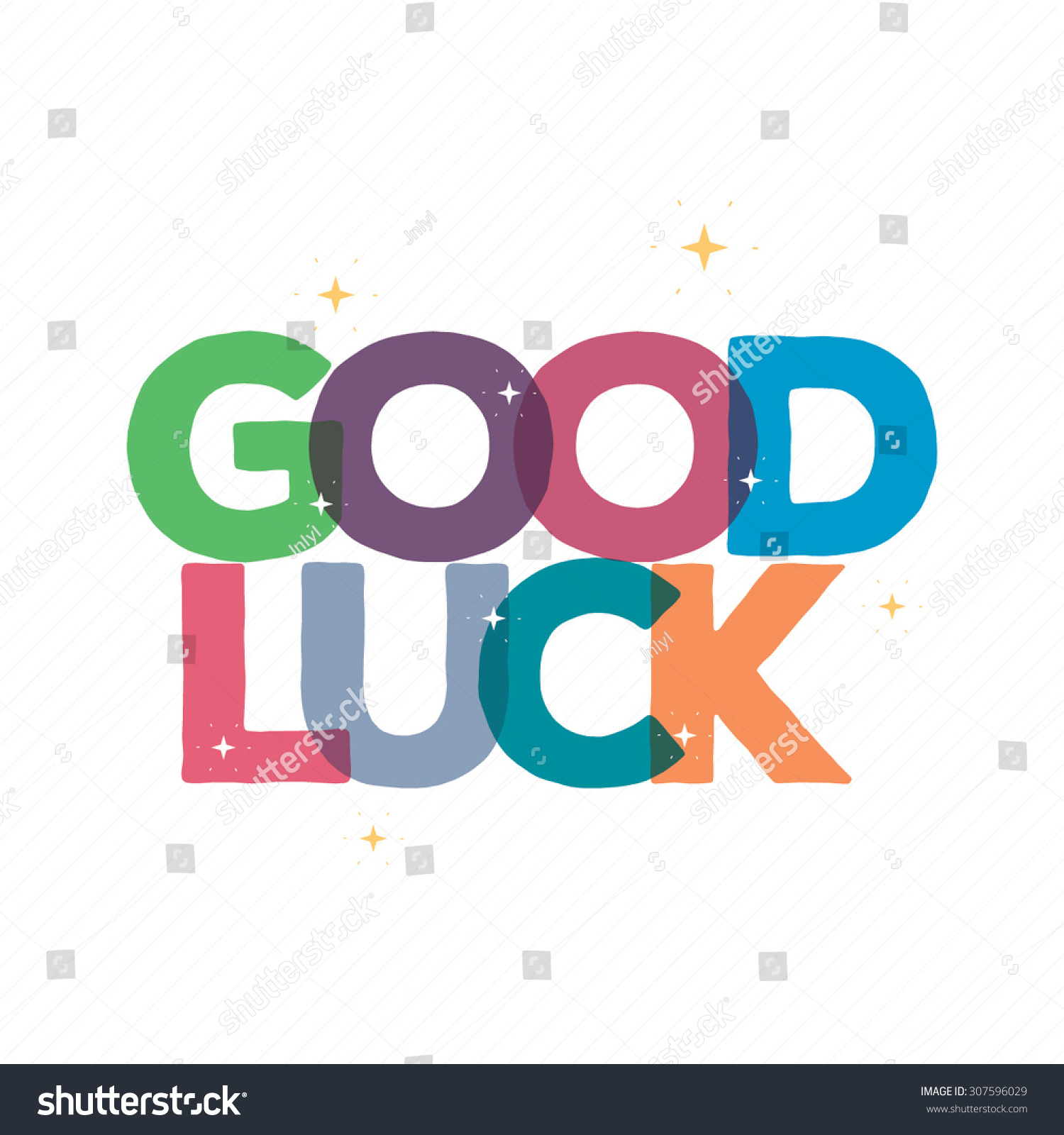 Good Luck Typography Card Design/Greeting Card Template With Text  /Transparent Font Design  Good Luck Card Template