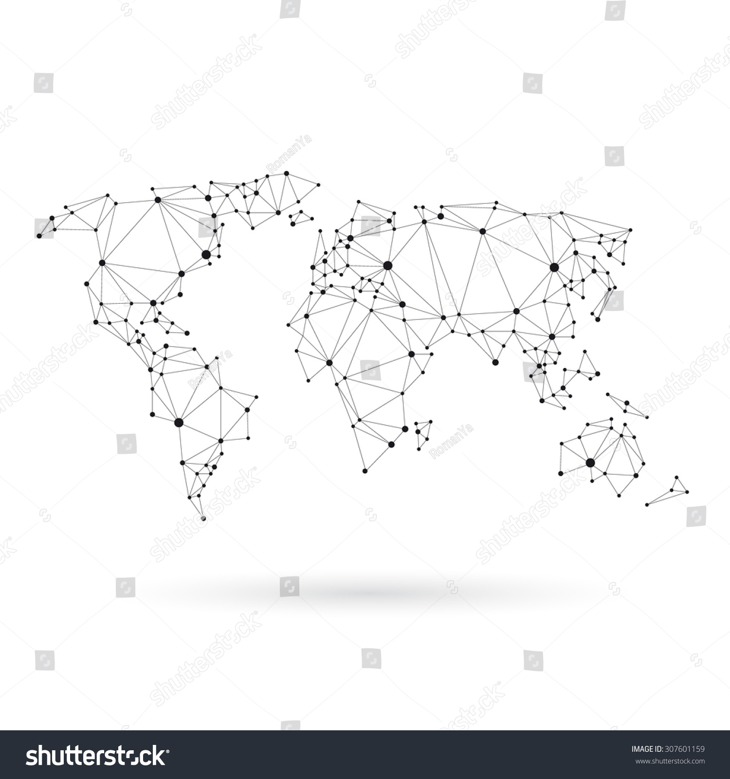 Geometric World Map Design Silhouette Black Stock Vector Royalty