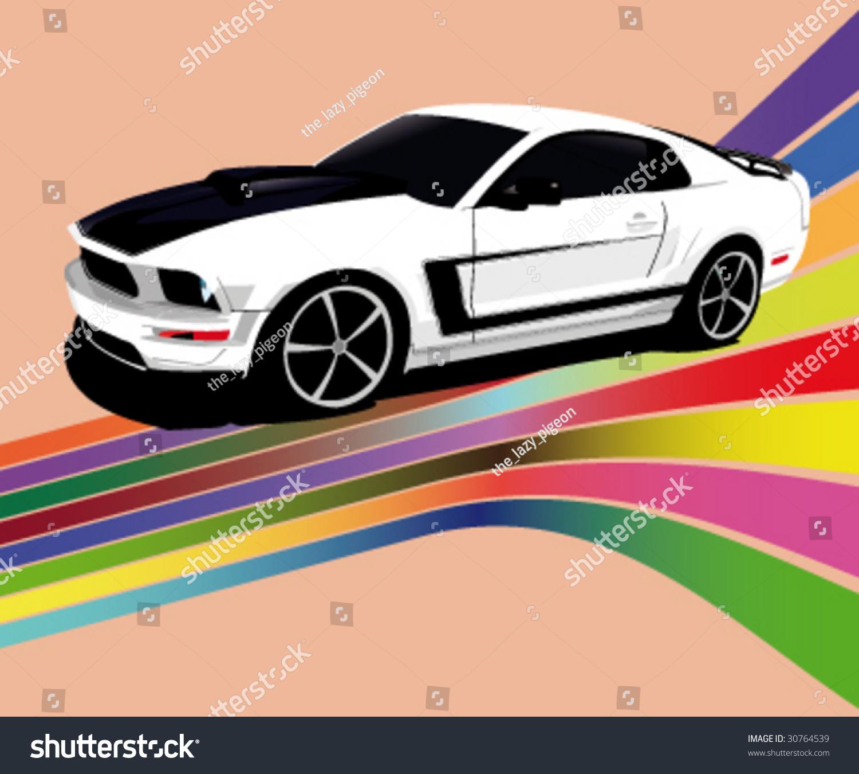 American No Name Vector Muscle Car Stock Vector 30764539