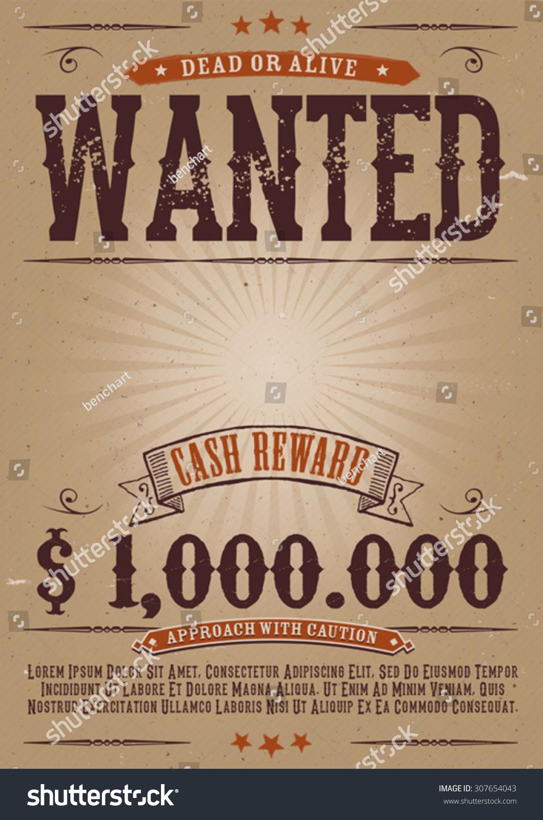Wanted Vintage Western Poster illustration Vintage Old – Wanted Reward Poster Template