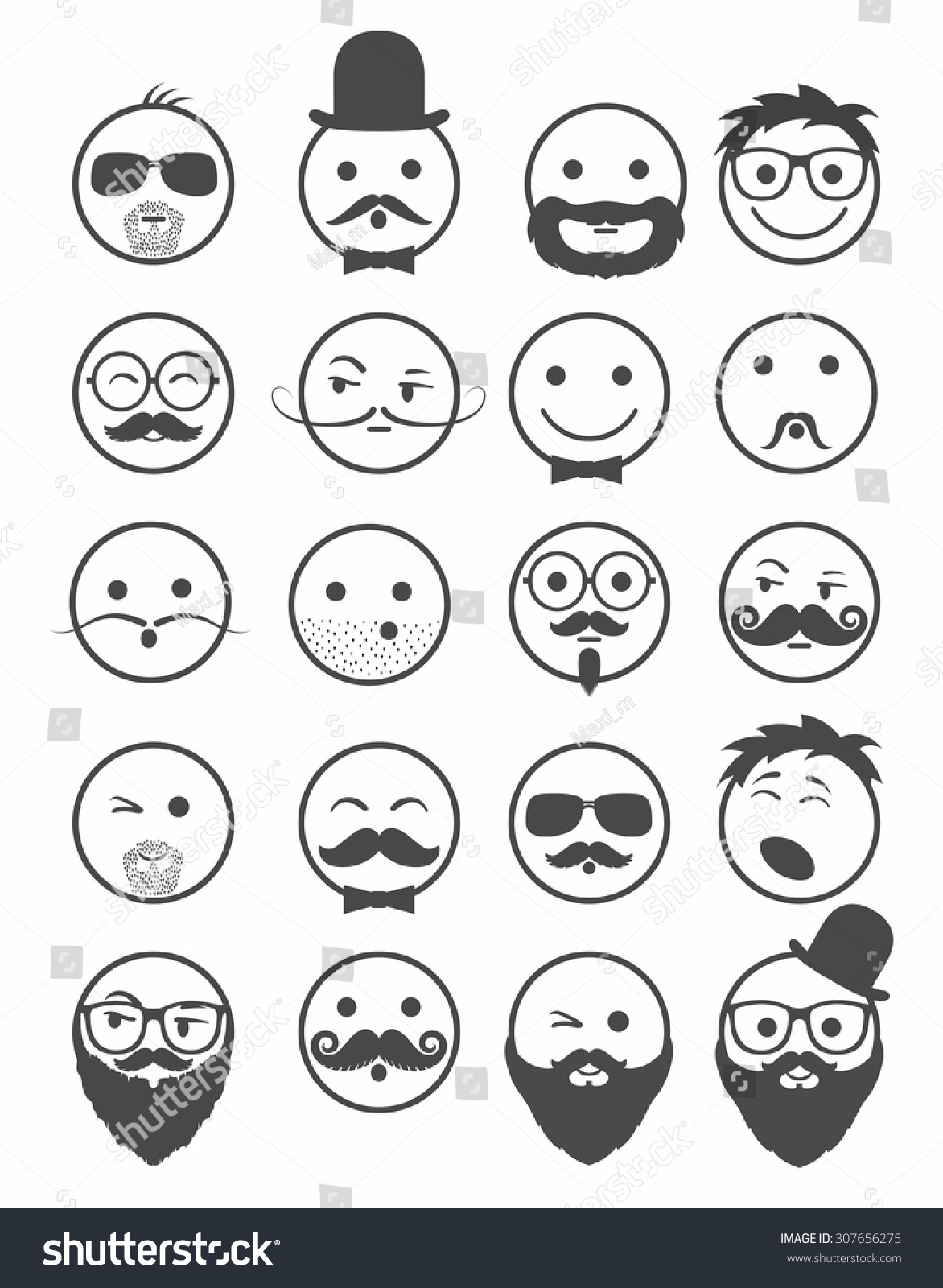 Icon Set 20 Mans Faces Mustache Stock Vector 307656275 - Shutterstock