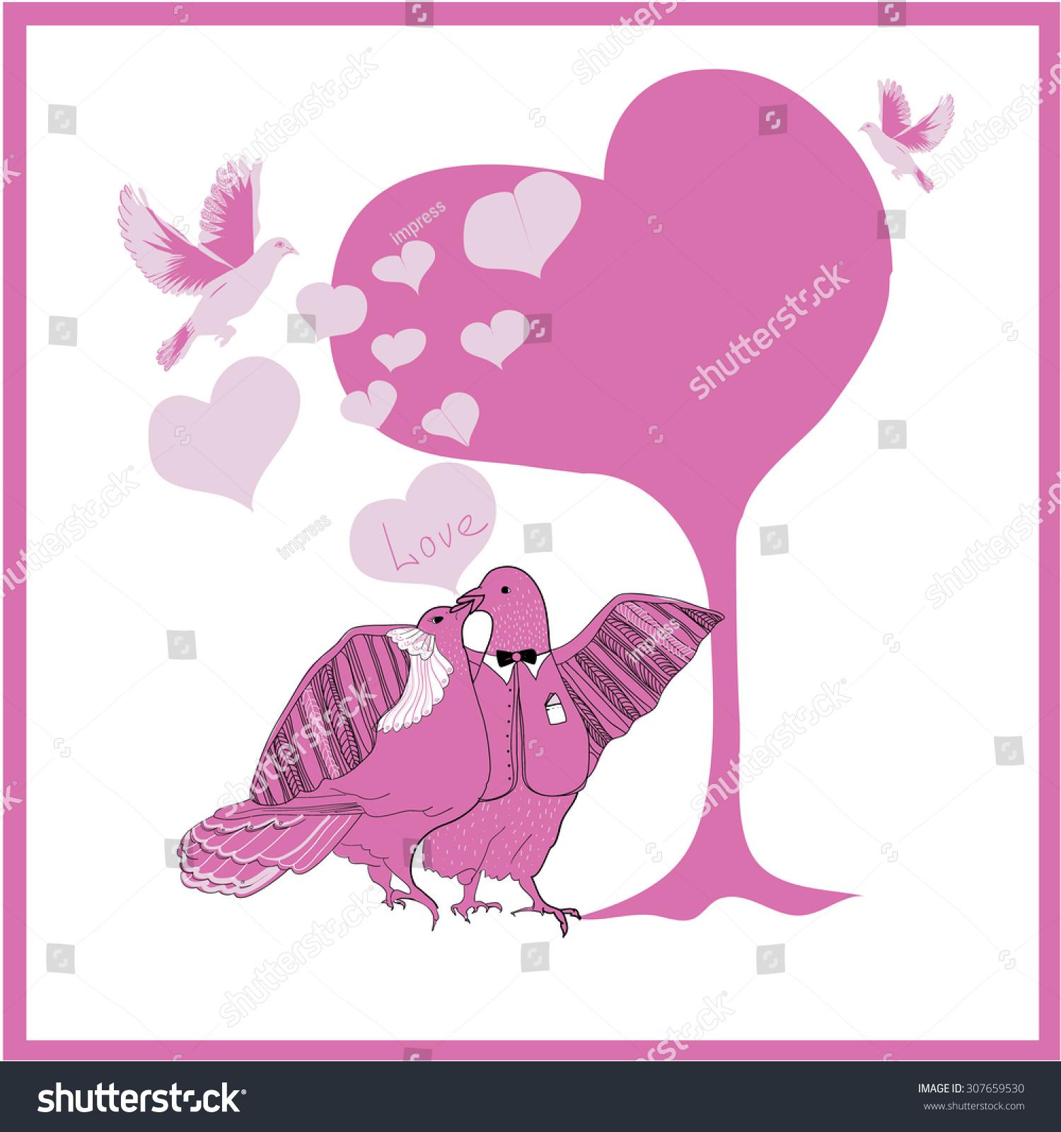 Wedding Card Couple Fantastic Doves Under Stock Illustration ...