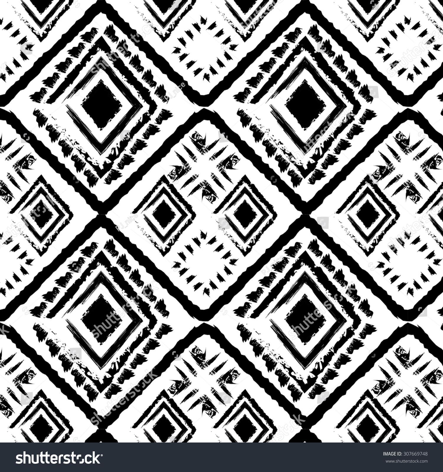 Hand Drawn Style Tribal Monochrome Seamless Stock Vector 2018