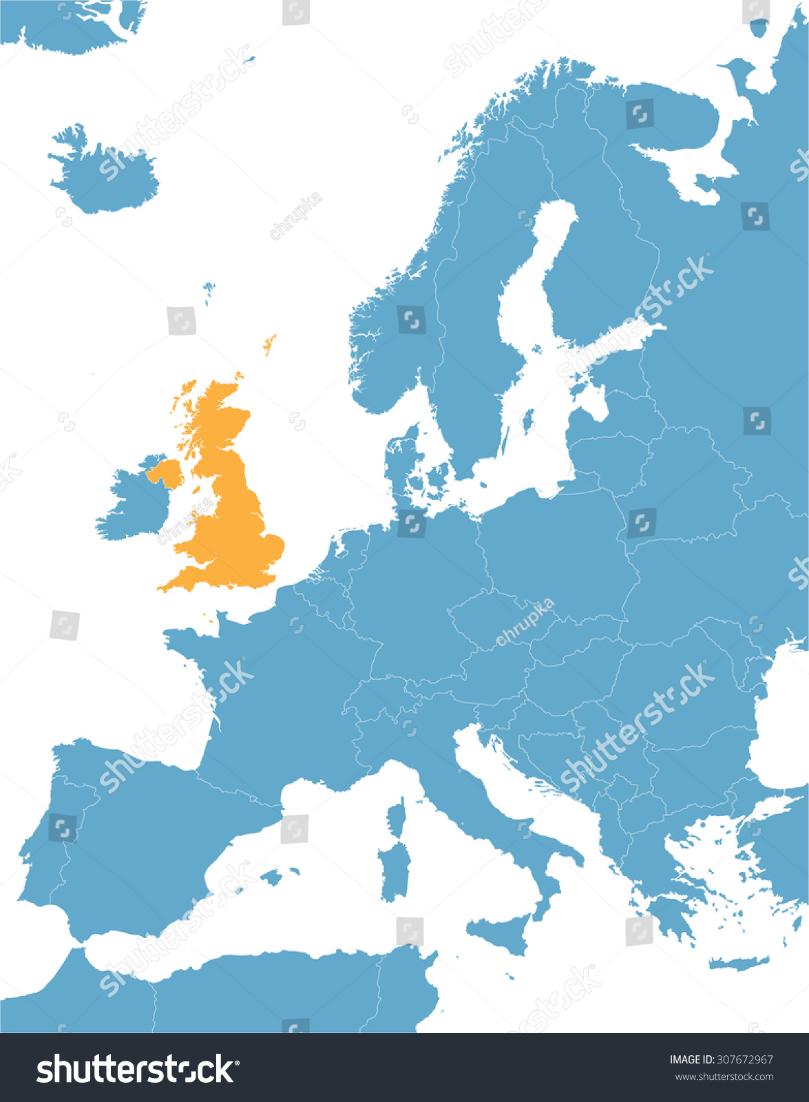 Blue Europe Vector Map Indication United Stock Vector - United kingdom europe map