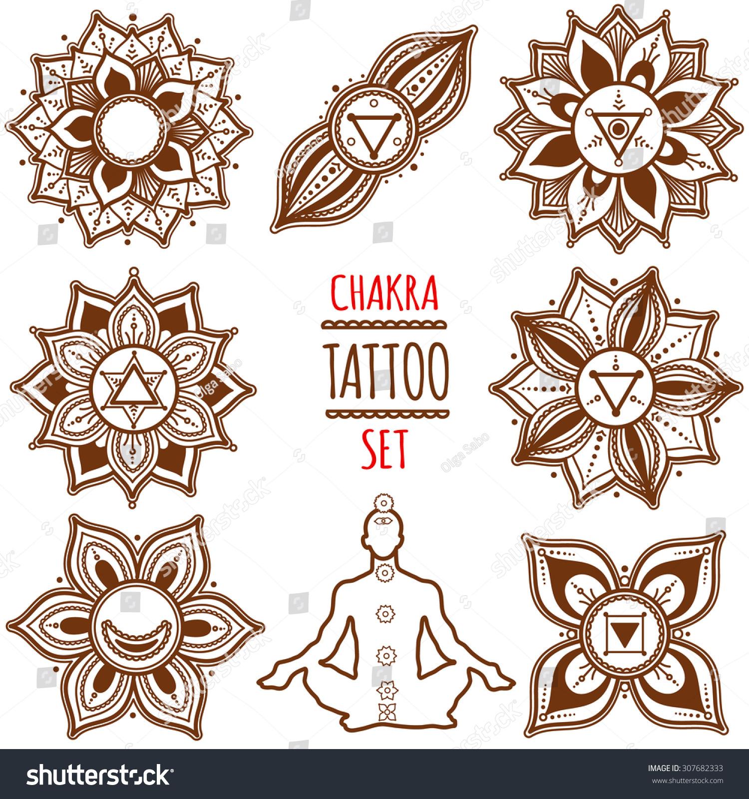 Chakra Set Henna Tattoo Mehndi Style Stock Vector Royalty Free