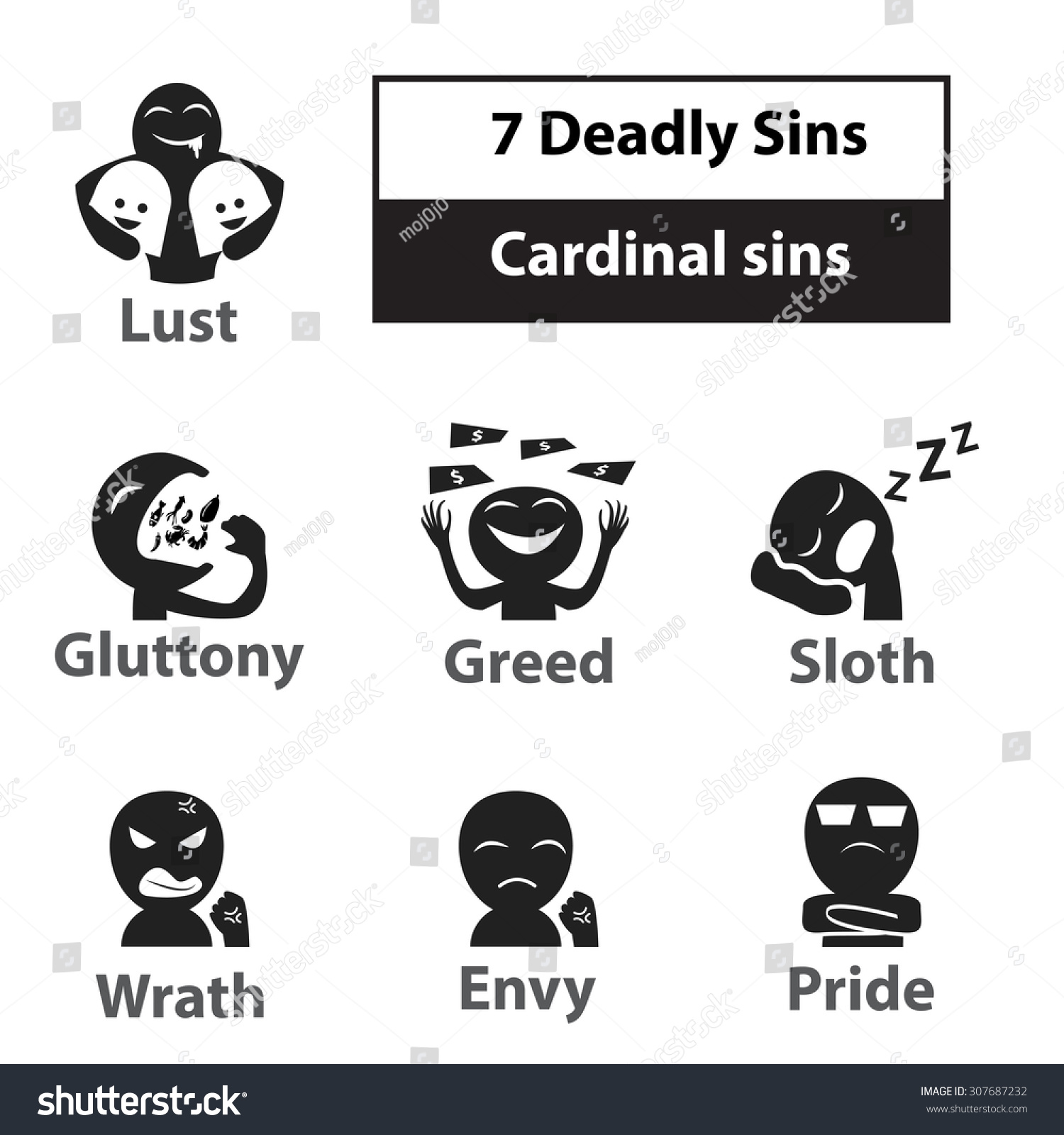 Seven deadly sins cardinal sins signs stock vector 307687232 seven deadly sins cardinal sins signs and symbol icon in black and white color biocorpaavc Image collections