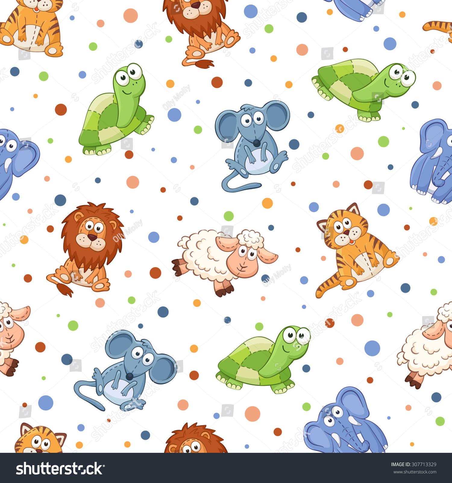 Seamless Pattern Stuffed Toys Cute Cartoon Stock Vector Royalty
