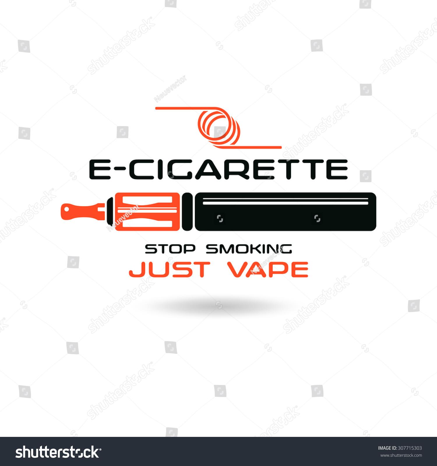 E Cigarette Emblem Color Print On White Background Stock