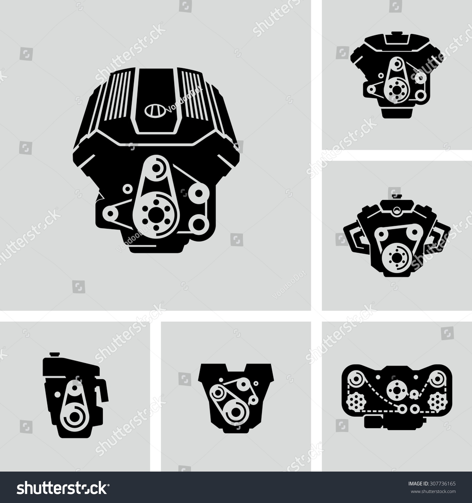 car engine vector icons stock vector 307736165 shutterstock. Black Bedroom Furniture Sets. Home Design Ideas