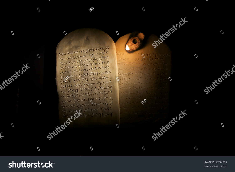 Biblical Ten Commandments Inscribed On Stone Stock Photo (Edit Now