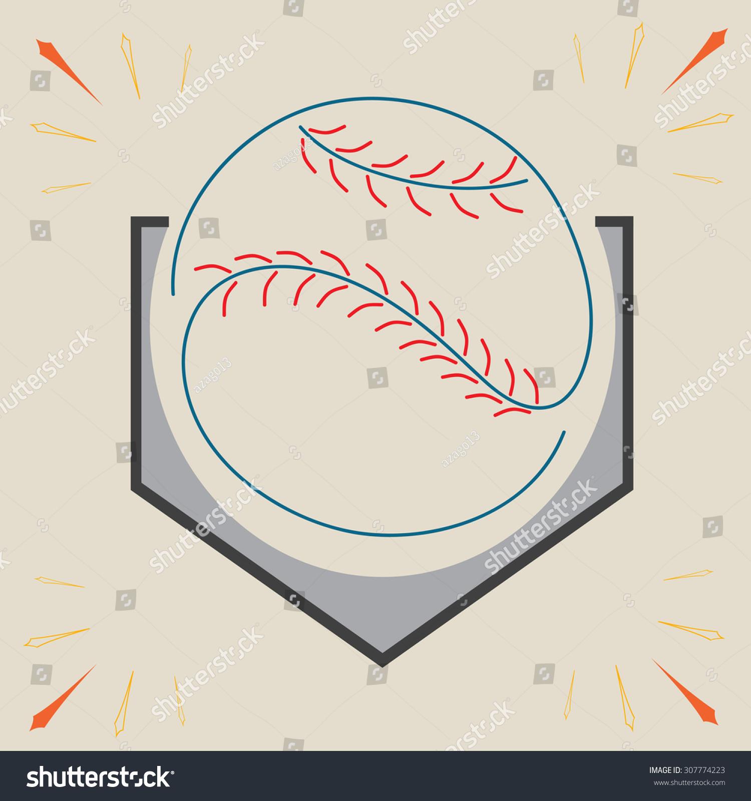 baseball home plate ball sport graphic stock vector 307774223