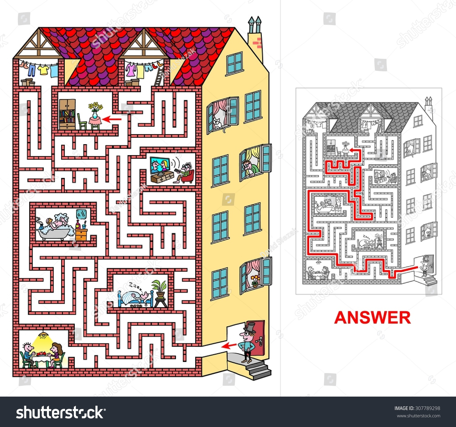 House Labyrinth Kids Easy Help Lord Stock Vector