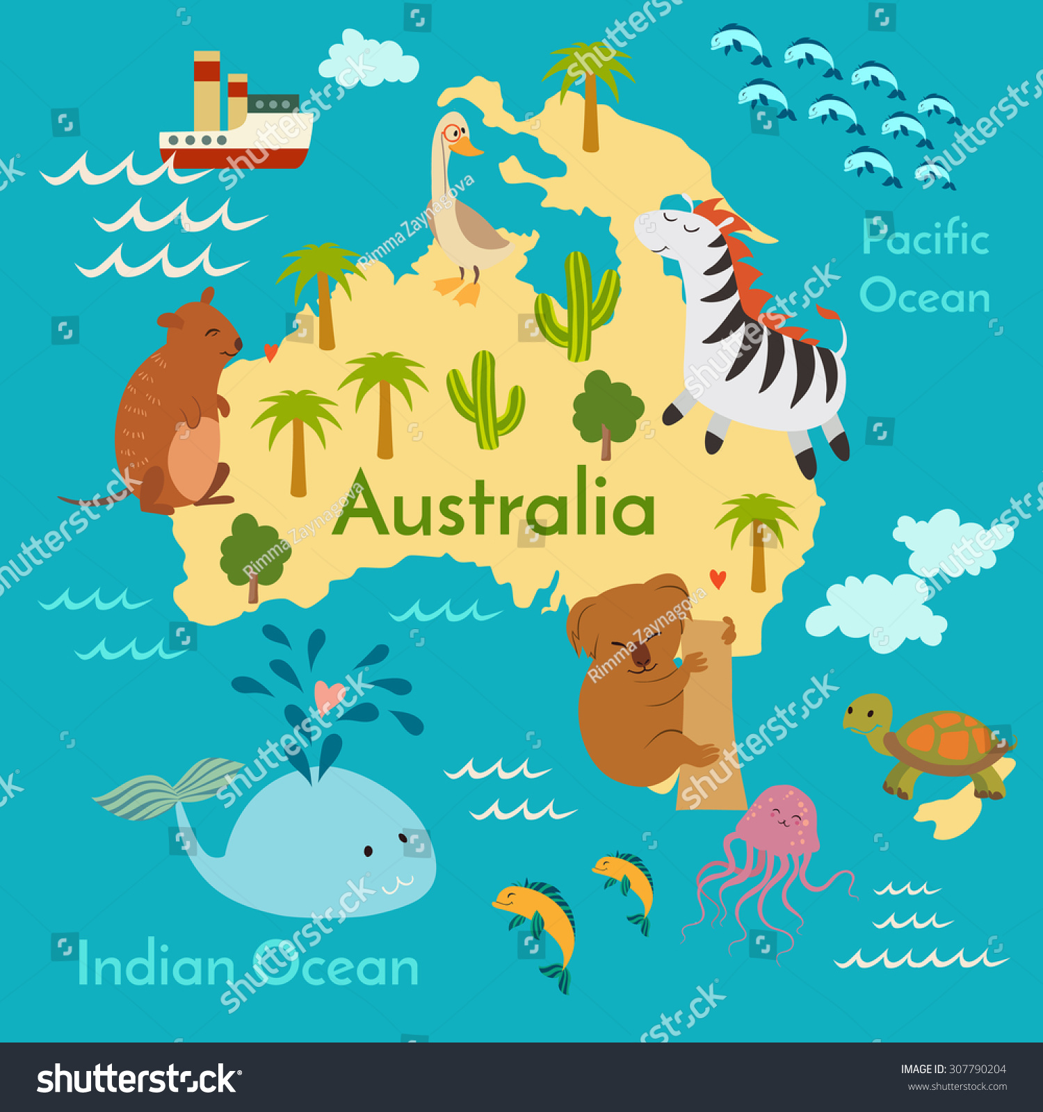 Animals World Map Australia Vector Illustration Stock Vector - Australia in world map