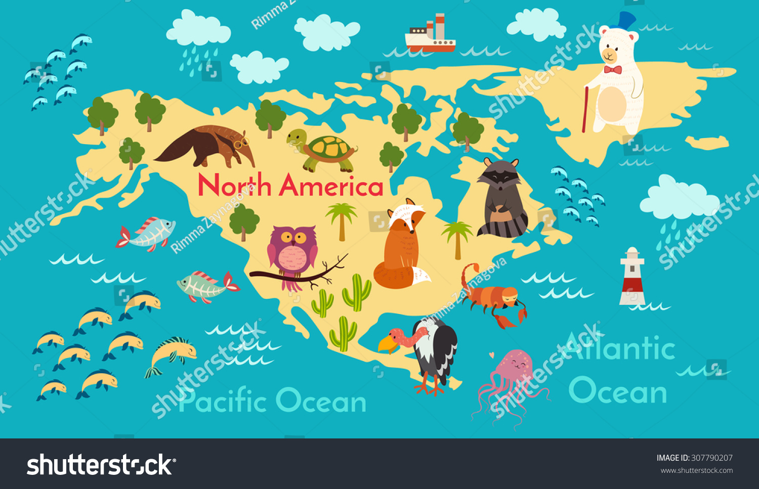 Animals world map north america vector vectores en stock 307790207 animals world map north america vector illustration preschool baby continents gumiabroncs Images