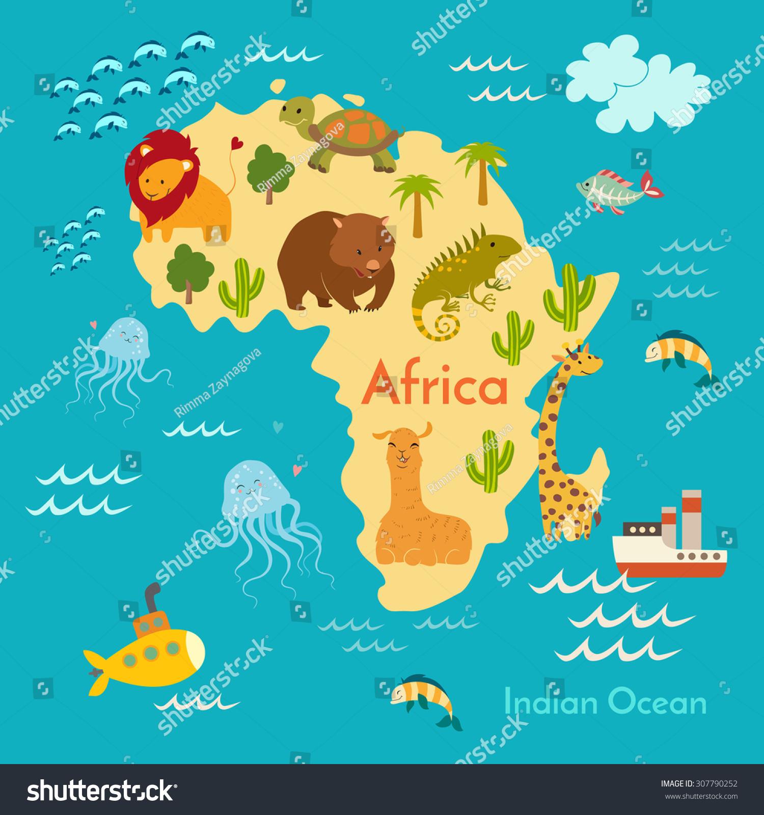 Animals World Map Africa Vector Illustration Stock Vector (Royalty ...