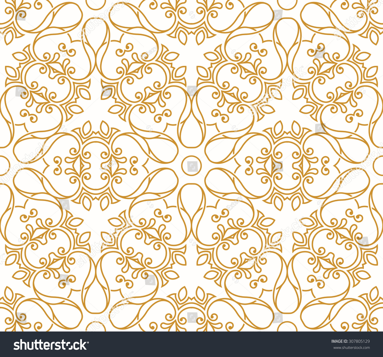 Seamless Background Arabic Style Gold Patterns Stock Vector