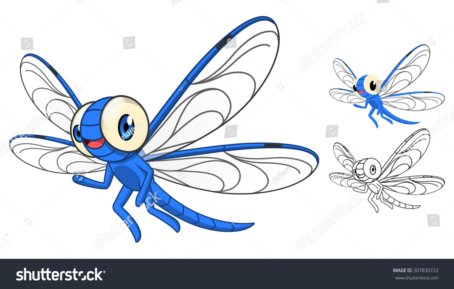 Art Line Quality : High quality detailed dragonfly cartoon character stock